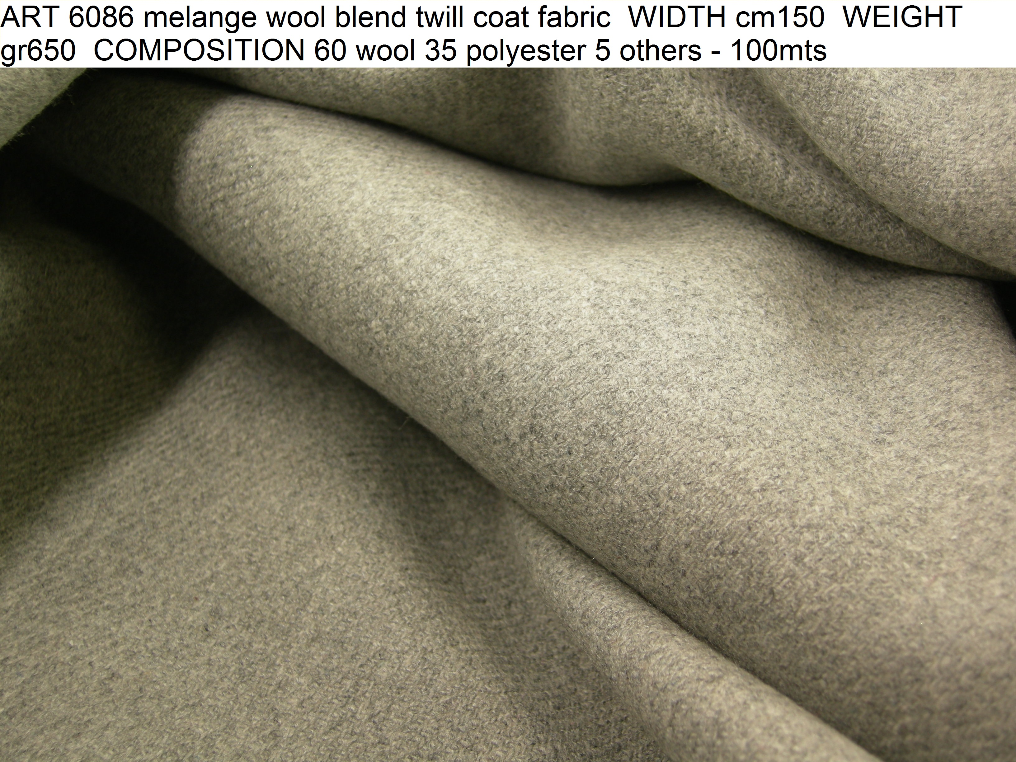 ART 6086 melange wool blend twill coat fabric WIDTH cm150 WEIGHT gr650 COMPOSITION 60 wool 35 polyester 5 others - 100mts