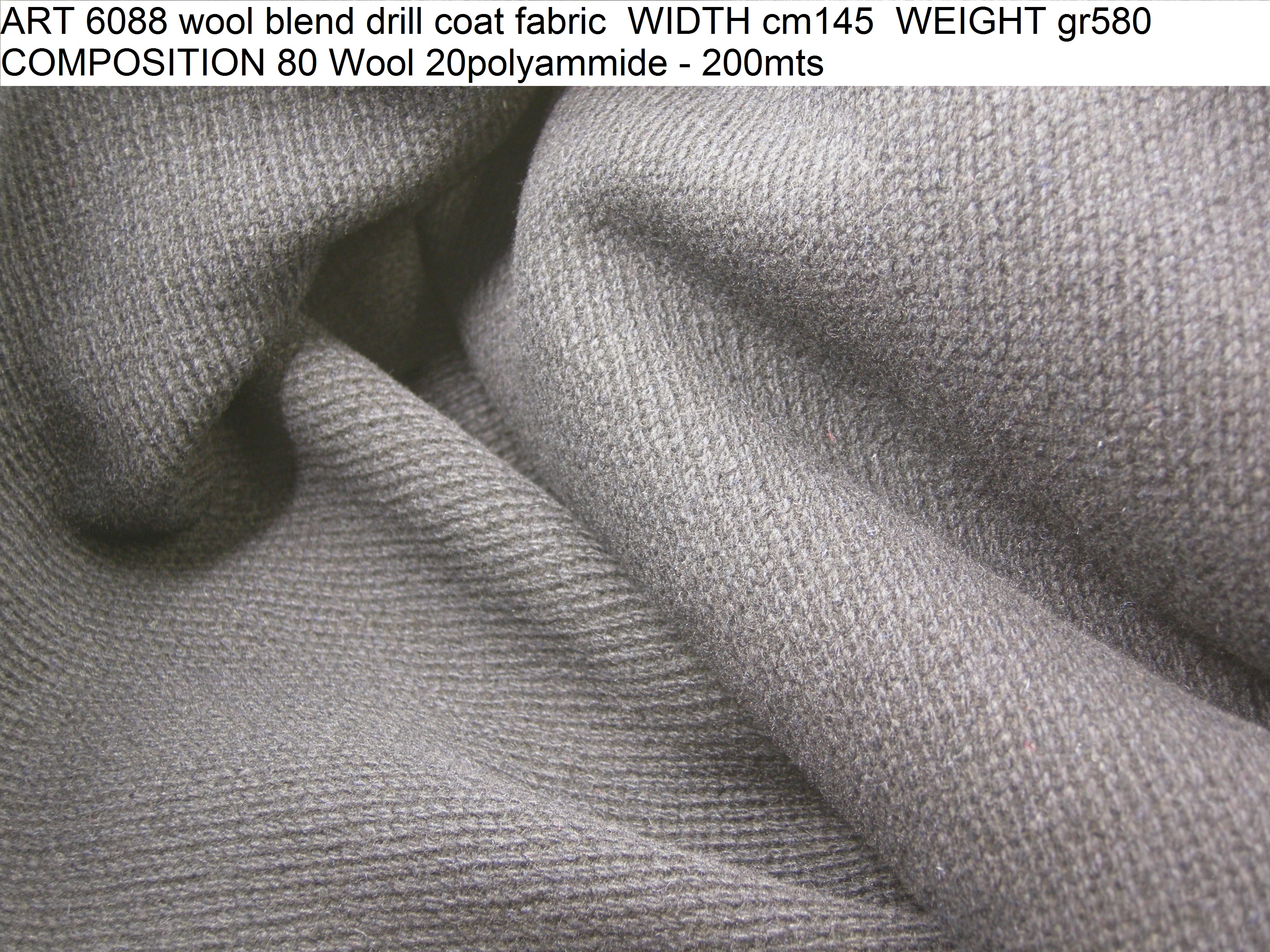 ART 6088 wool blend drill coat fabric WIDTH cm145 WEIGHT gr580 COMPOSITION 80 Wool 20polyammide - 200mts