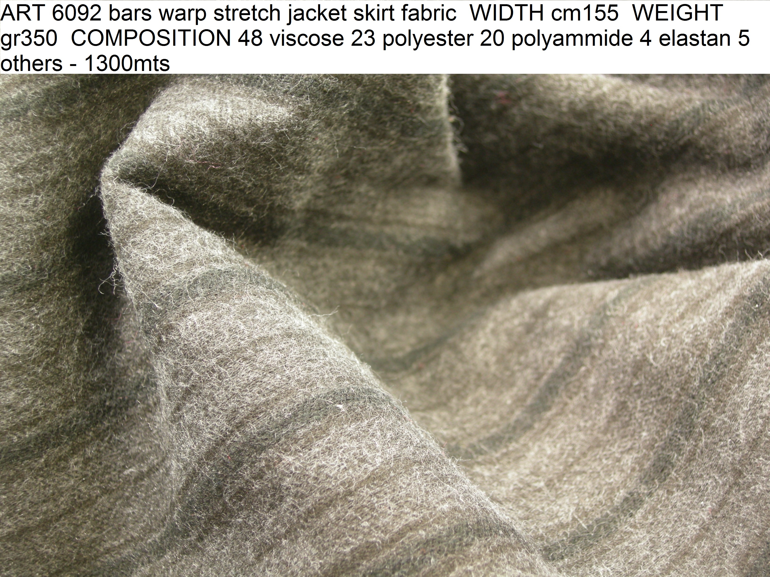 ART 6092 bars warp stretch jacket skirt fabric WIDTH cm155 WEIGHT gr350 COMPOSITION 48 viscose 23 polyester 20 polyammide 4 elastan 5 others - 1300mts