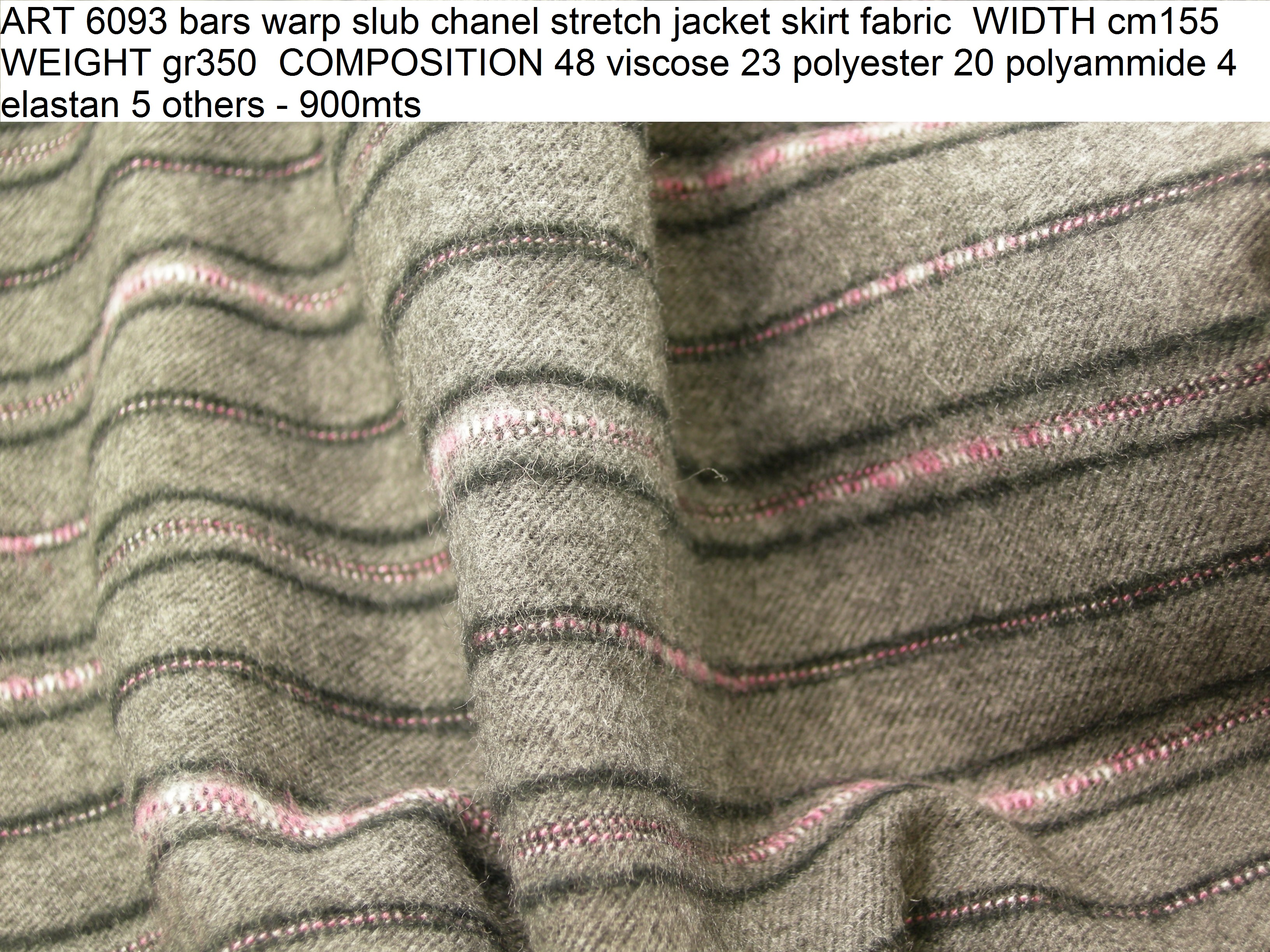 ART 6093 bars warp slub chanel stretch jacket skirt fabric WIDTH cm155 WEIGHT gr350 COMPOSITION 48 viscose 23 polyester 20 polyammide 4 elastan 5 others - 900mts
