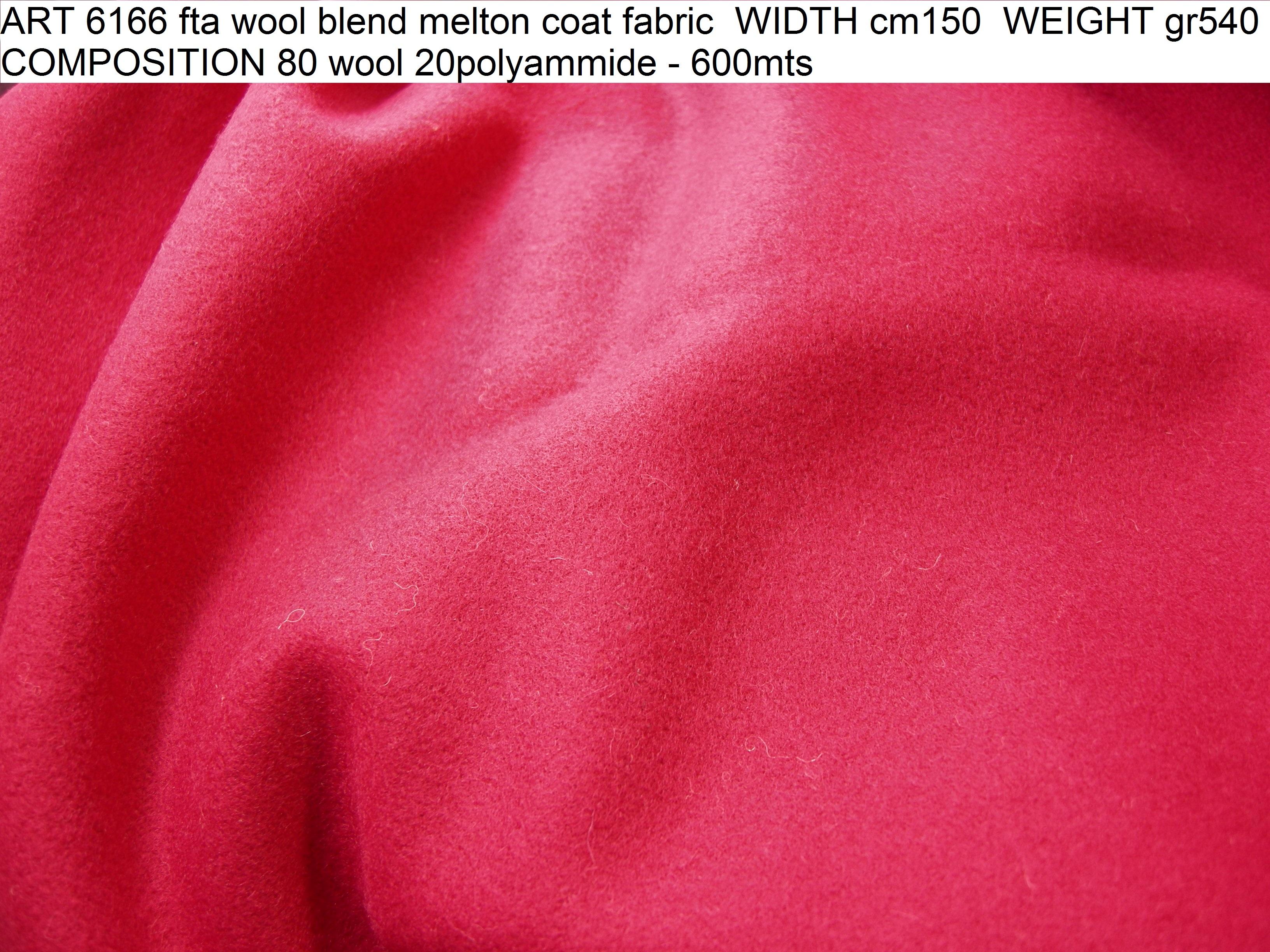 ART 6166 fta wool blend melton coat fabric WIDTH cm150 WEIGHT gr540 COMPOSITION 80 wool 20polyammide - 600mts
