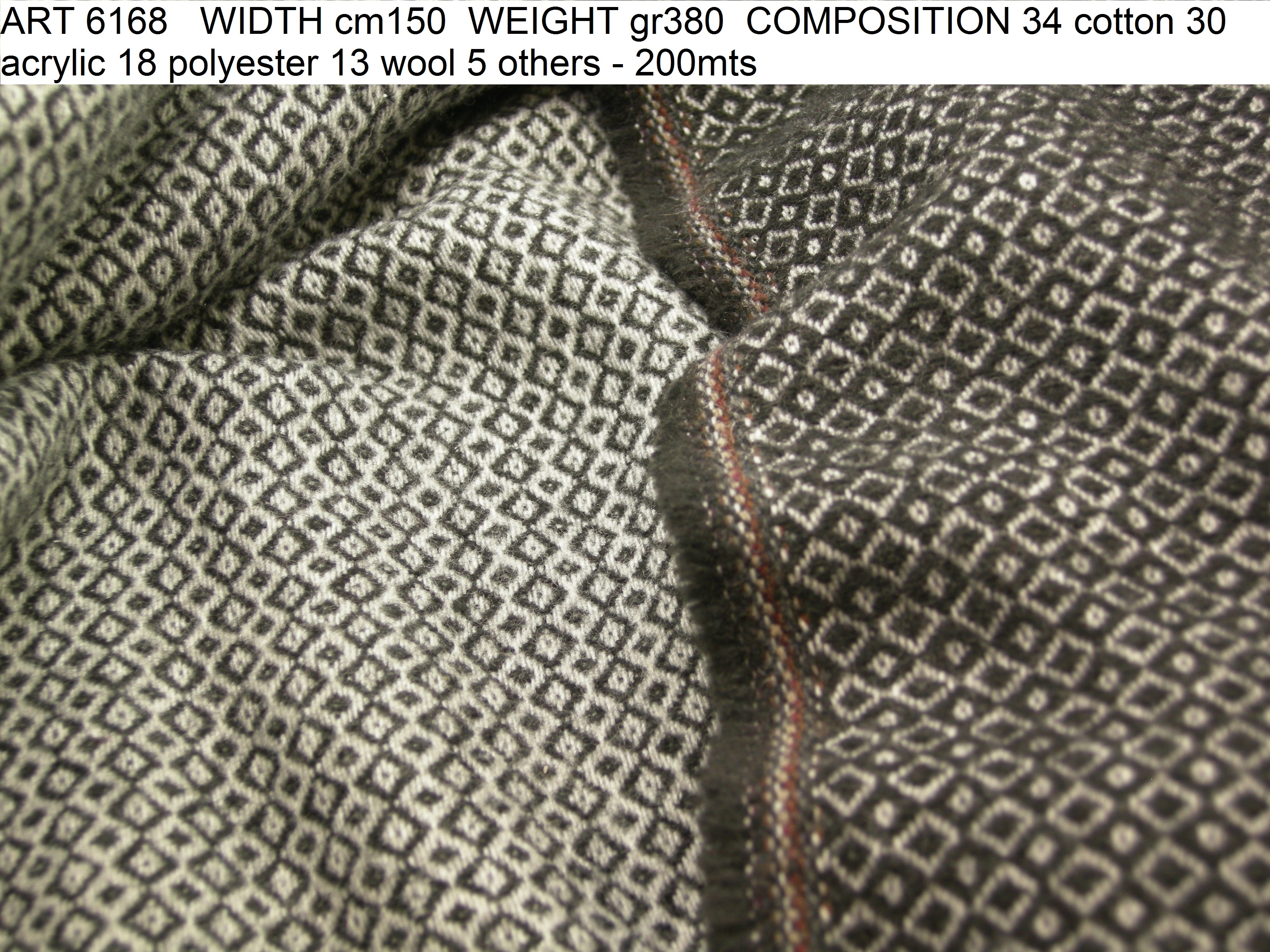 ART 6168 WIDTH cm150 WEIGHT gr380 COMPOSITION 34 cotton 30 acrylic 18 polyester 13 wool 5 others - 200mts