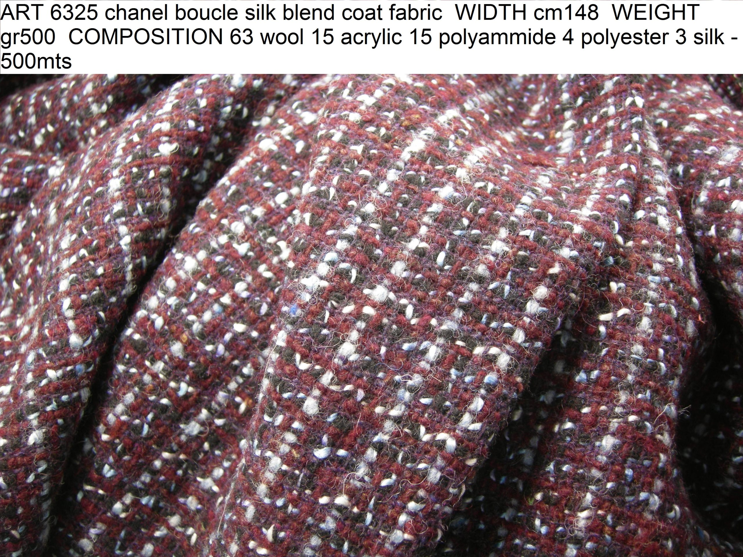 ART 6325 chanel boucle silk blend coat fabric WIDTH cm148 WEIGHT gr500 COMPOSITION 63 wool 15 acrylic 15 polyammide 4 polyester 3 silk - 500mts