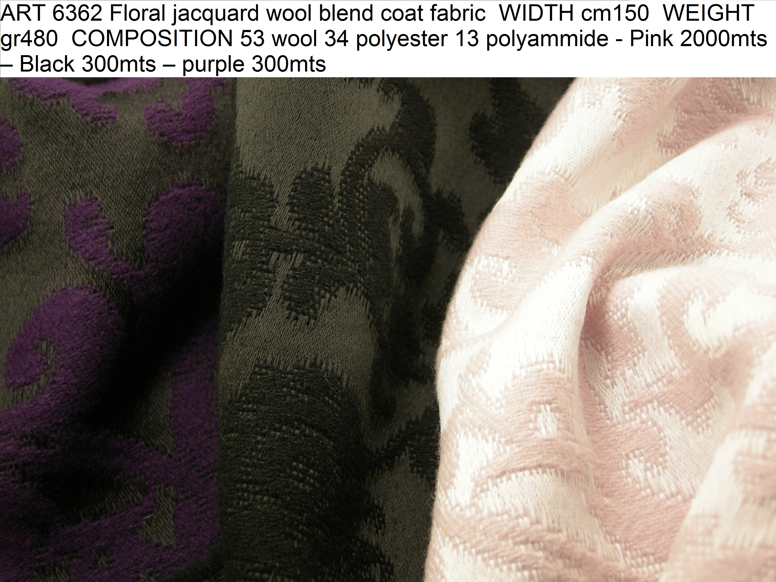 ART 6362 Floral jacquard wool blend coat fabric WIDTH cm150 WEIGHT gr480 COMPOSITION 53 wool 34 polyester 13 polyammide - Pink 2000mts – Black 300mts – purple 300mts