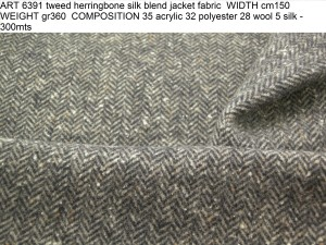 ART 6391 tweed herringbone silk blend jacket fabric WIDTH cm150 WEIGHT gr360 COMPOSITION 35 acrylic 32 polyester 28 wool 5 silk - 300mts