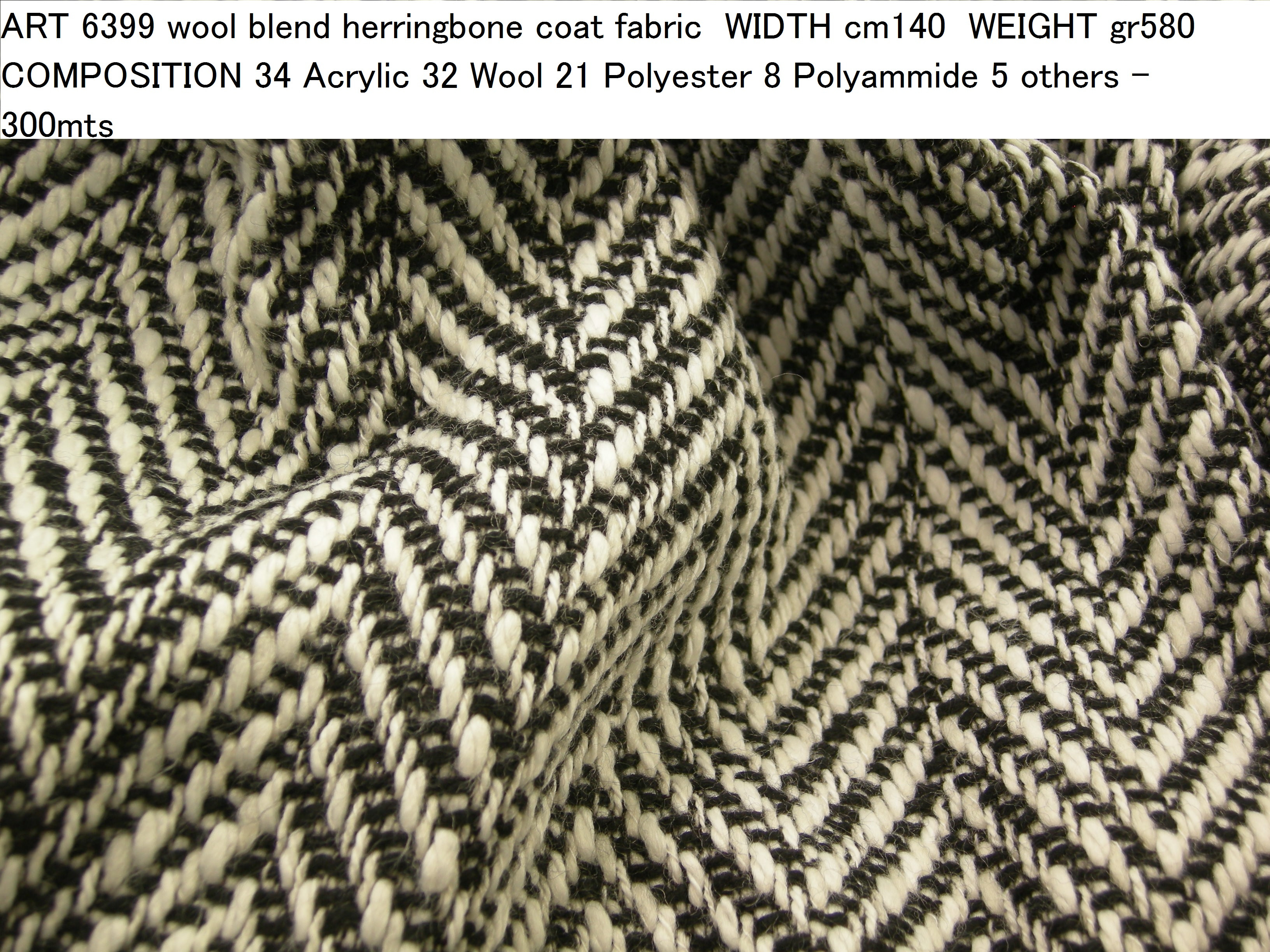 ART 6399 wool blend herringbone coat fabric WIDTH cm140 WEIGHT gr580 COMPOSITION 34 Acrylic 32 Wool 21 Polyester 8 Polyammide 5 others - 300mts