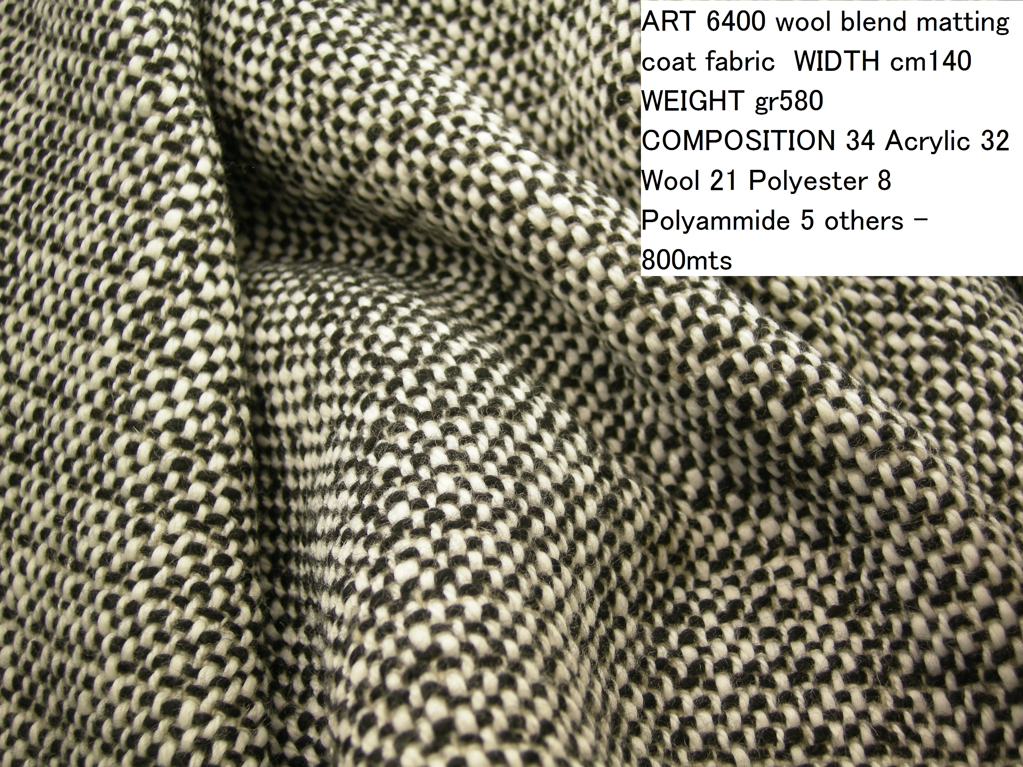 ART 6400 wool blend matting coat fabric WIDTH cm140 WEIGHT gr580 COMPOSITION 34 Acrylic 32 Wool 21 Polyester 8 Polyammide 5 others - 800mts