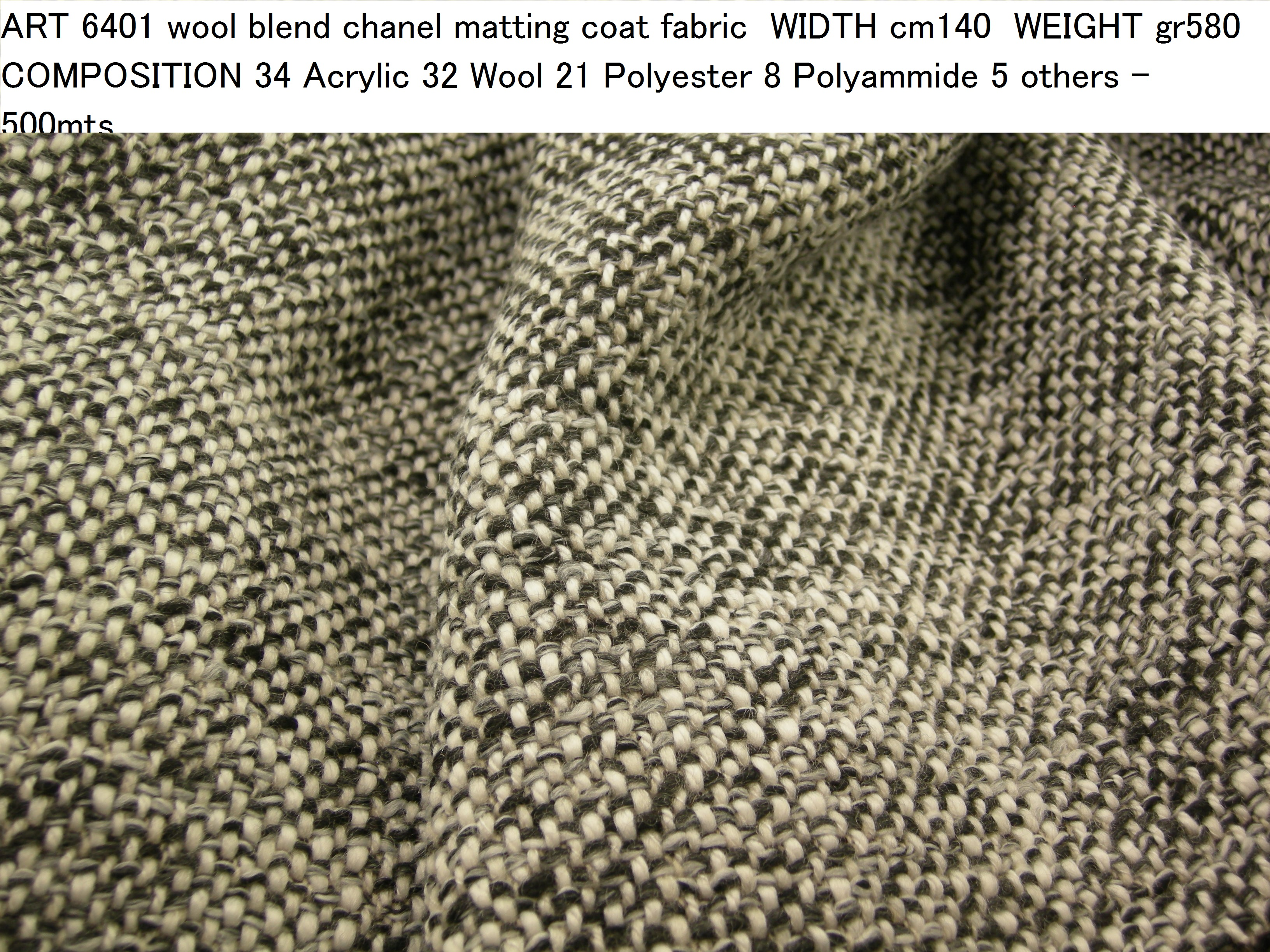 ART 6401 wool blend chanel matting coat fabric WIDTH cm140 WEIGHT gr580 COMPOSITION 34 Acrylic 32 Wool 21 Polyester 8 Polyammide 5 others - 500mts