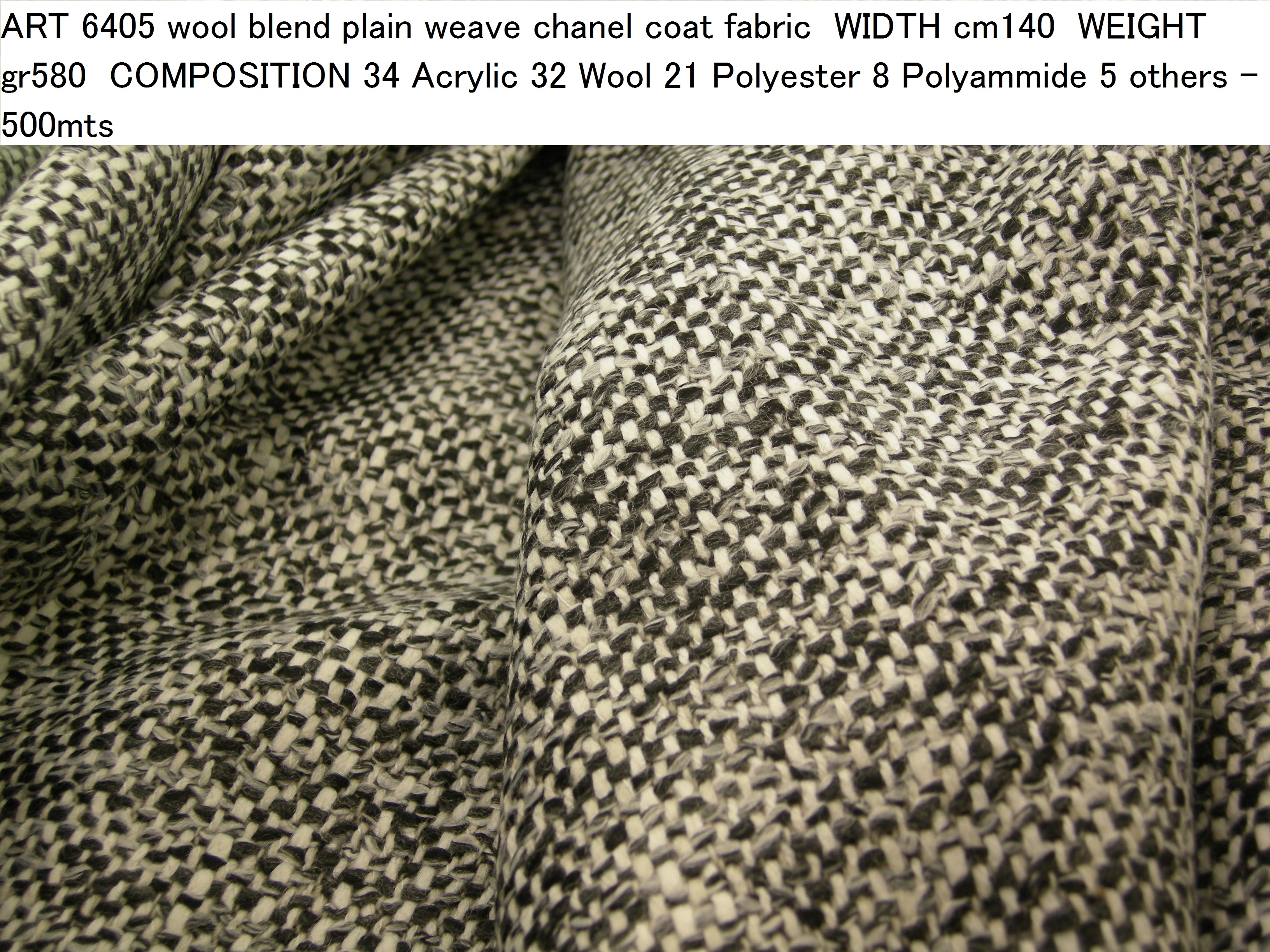 ART 6405 wool blend plain weave chanel coat fabric WIDTH cm140 WEIGHT gr580 COMPOSITION 34 Acrylic 32 Wool 21 Polyester 8 Polyammide 5 others - 500mts