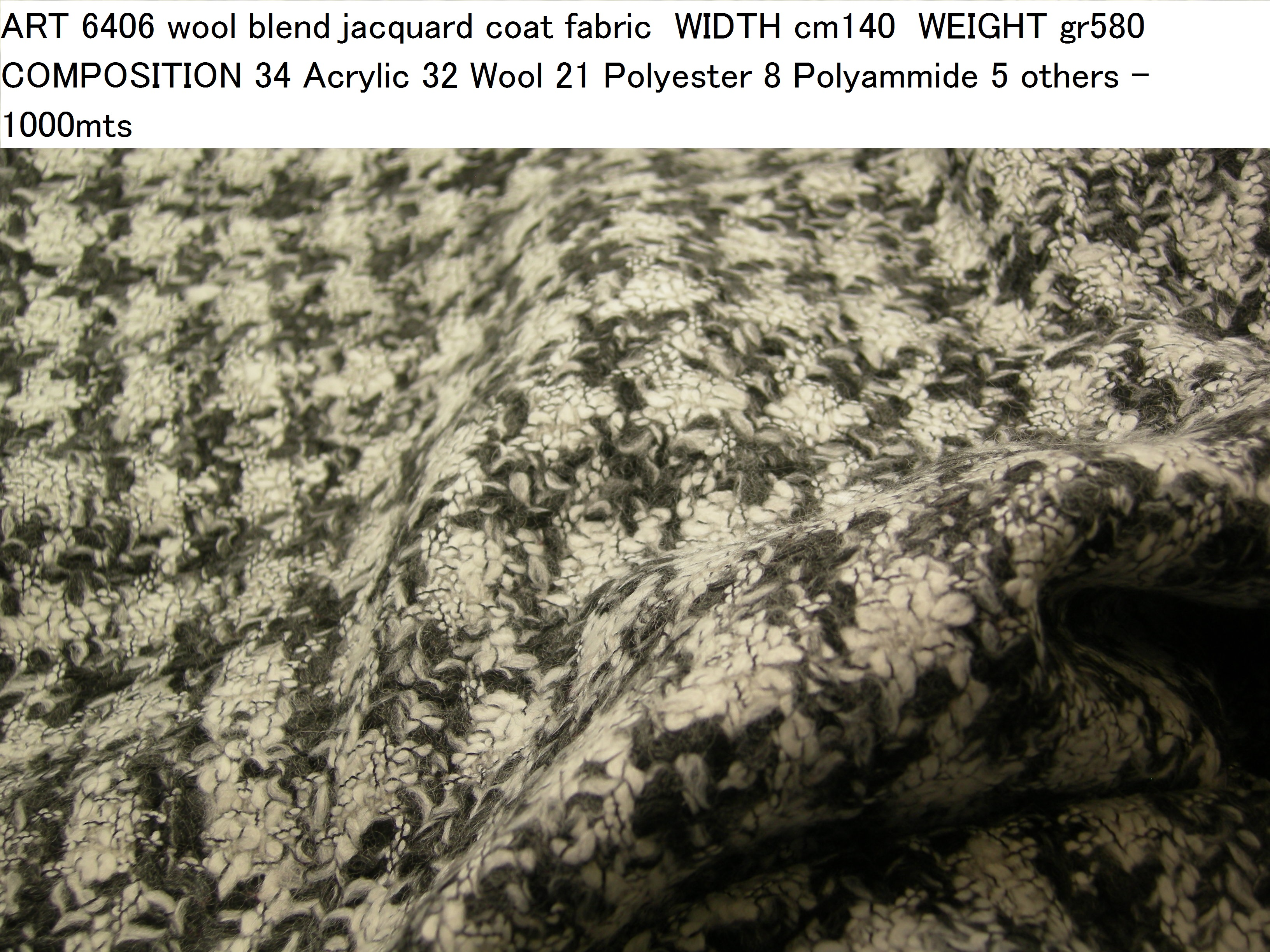 ART 6406 wool blend jacquard coat fabric WIDTH cm140 WEIGHT gr580 COMPOSITION 34 Acrylic 32 Wool 21 Polyester 8 Polyammide 5 others - 1000mts
