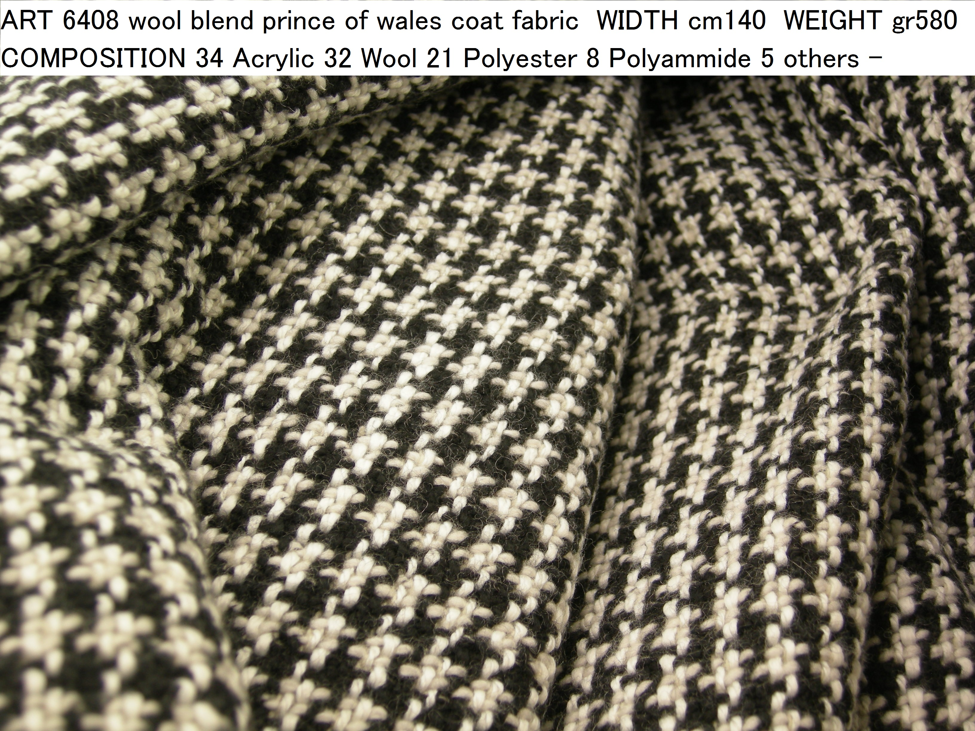 ART 6408 wool blend prince of wales coat fabric WIDTH cm140 WEIGHT gr580 COMPOSITION 34 Acrylic 32 Wool 21 Polyester 8 Polyammide 5 others - 450mts