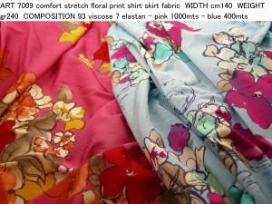ART 7009 comfort stretch floral print shirt skirt fabric WIDTH cm140 WEIGHT gr240 COMPOSITION 93 viscose 7 elastan - pink 1000mts – blue 400mts