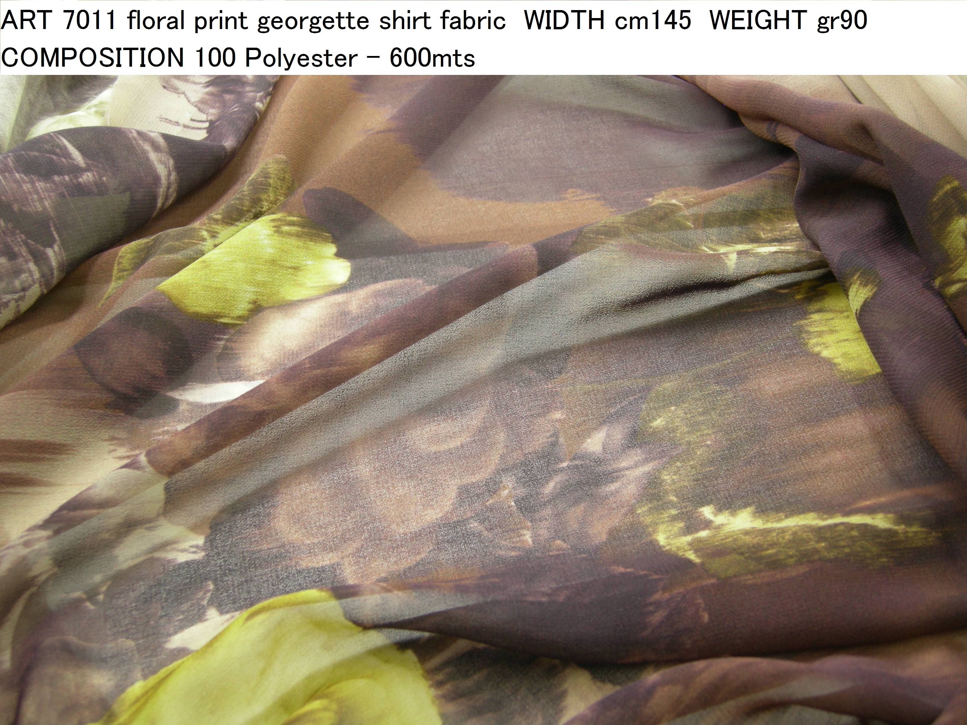 ART 7011 floral print georgette shirt fabric WIDTH cm145 WEIGHT gr90 COMPOSITION 100 Polyester - 600mts