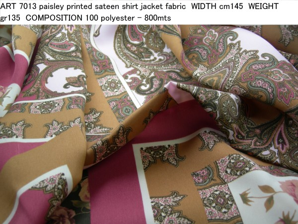 ART 7013 paisley printed sateen shirt jacket fabric WIDTH cm145 WEIGHT gr135 COMPOSITION 100 polyester - 800mts