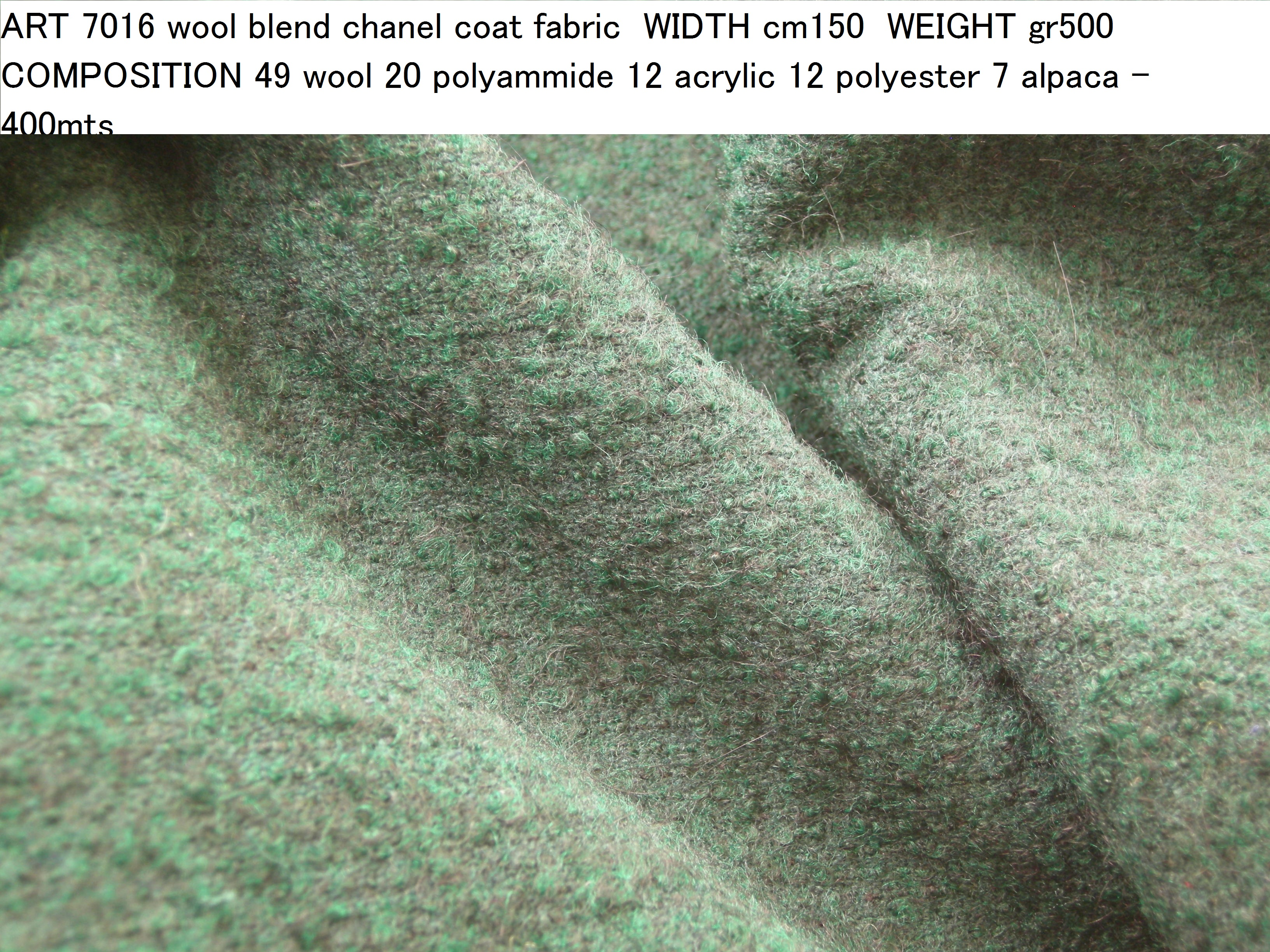 ART 7016 wool blend chanel coat fabric WIDTH cm150 WEIGHT gr500 COMPOSITION 49 wool 20 polyammide 12 acrylic 12 polyester 7 alpaca - 400mts