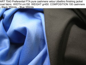 ART 7043 Preferential FTA pure cashmere velour zibellino finishing jacket coat fabric WIDTH cm150 WEIGHT gr450 COMPOSITION 100 cashmere - Black 350mts – Blue 350mts