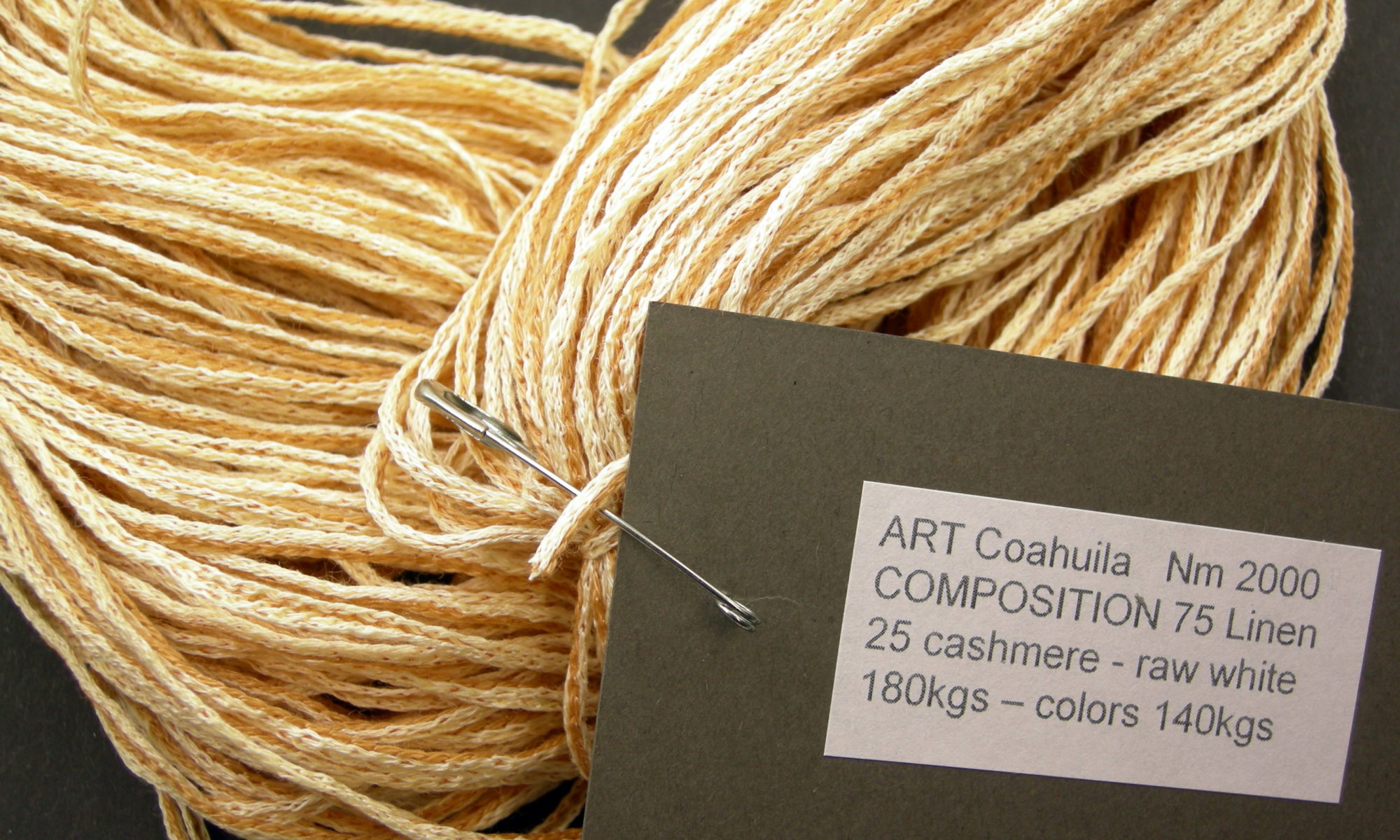 ART Coahuila Nm 2000 COMPOSITION 75 Linen 25 cashmere - raw white 180kgs – colors 140kgs