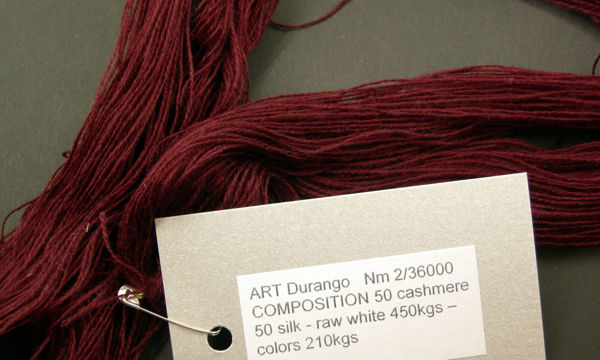 ART Durango Nm 2 36000 COMPOSITION 50 cashmere 50 silk - raw white 450kgs – colors 210kgs