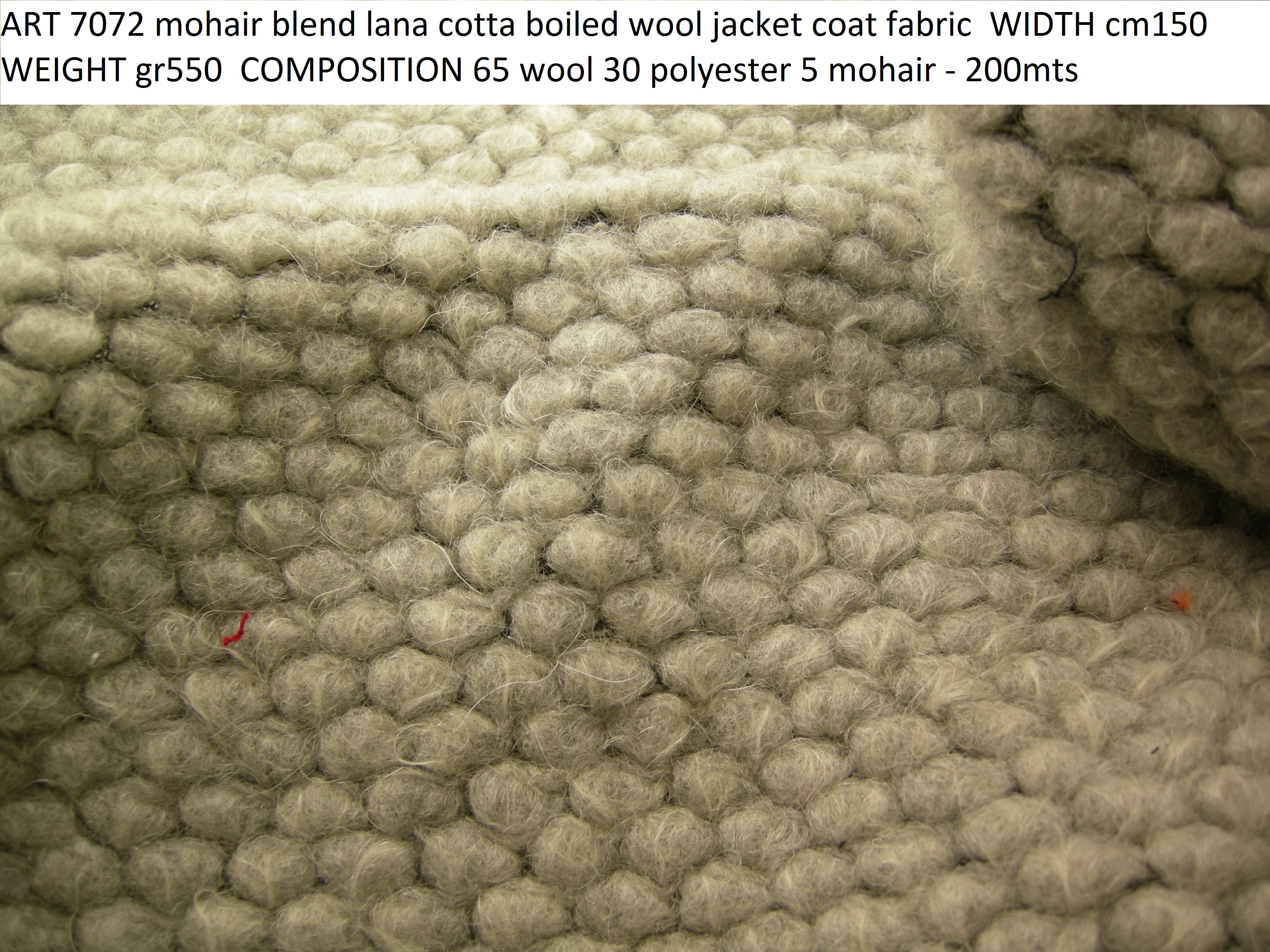 ART 7072 mohair blend lana cotta boiled wool jacket coat fabric WIDTH cm150 WEIGHT gr550 COMPOSITION 65 wool 30 polyester 5 mohair - 200mts