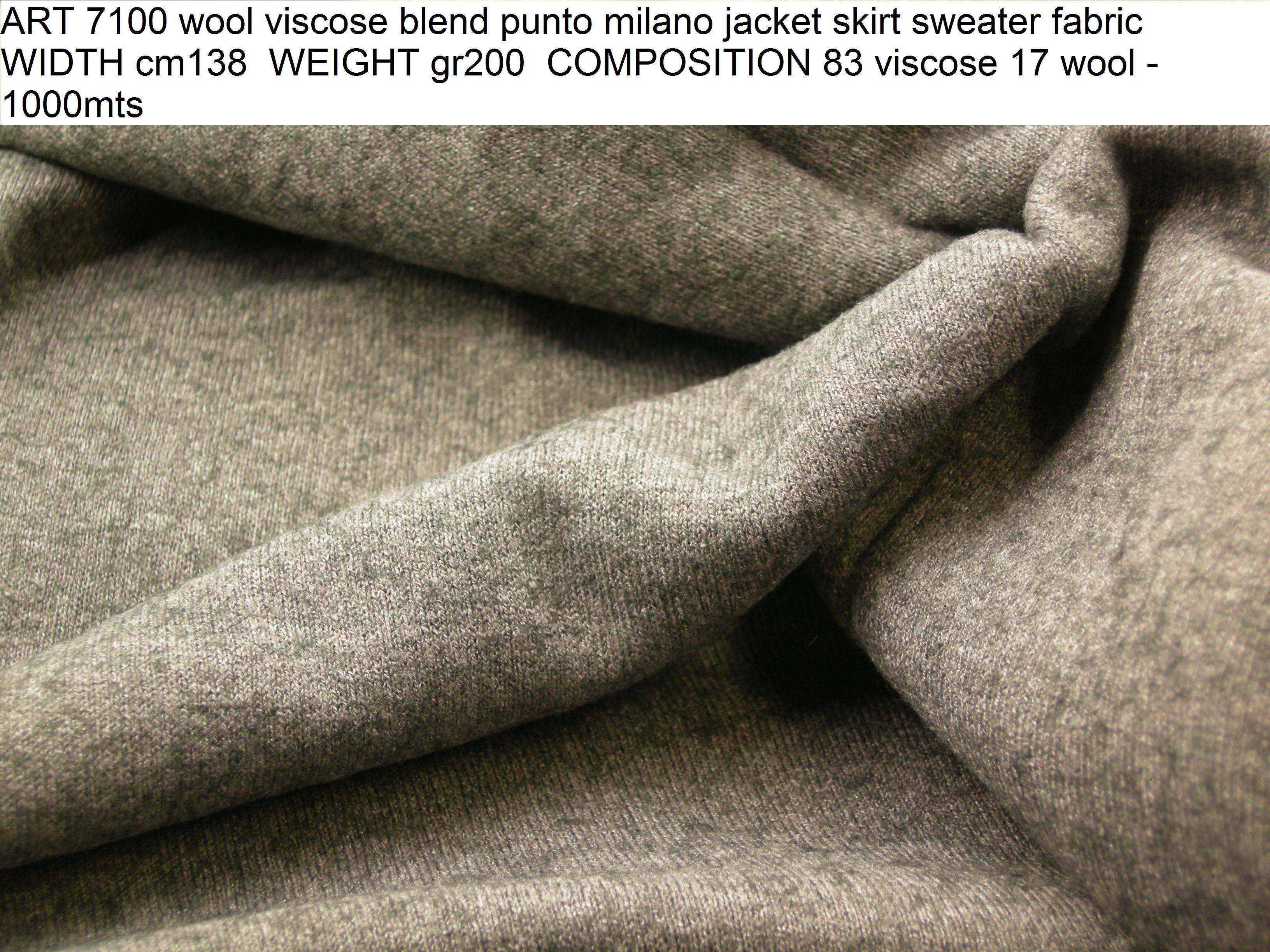 ART 7100 wool viscose blend punto milano jacket skirt sweater fabric WIDTH cm138 WEIGHT gr200 COMPOSITION 83 viscose 17 wool - 1000mts