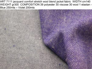 ART 7111 jacquard comfort stretch wool blend jacket fabric WIDTH cm140 WEIGHT gr300 COMPOSITION 39 polyester 30 viscose 30 wool 1 elastan - Blue 250mts – Violet 200mts
