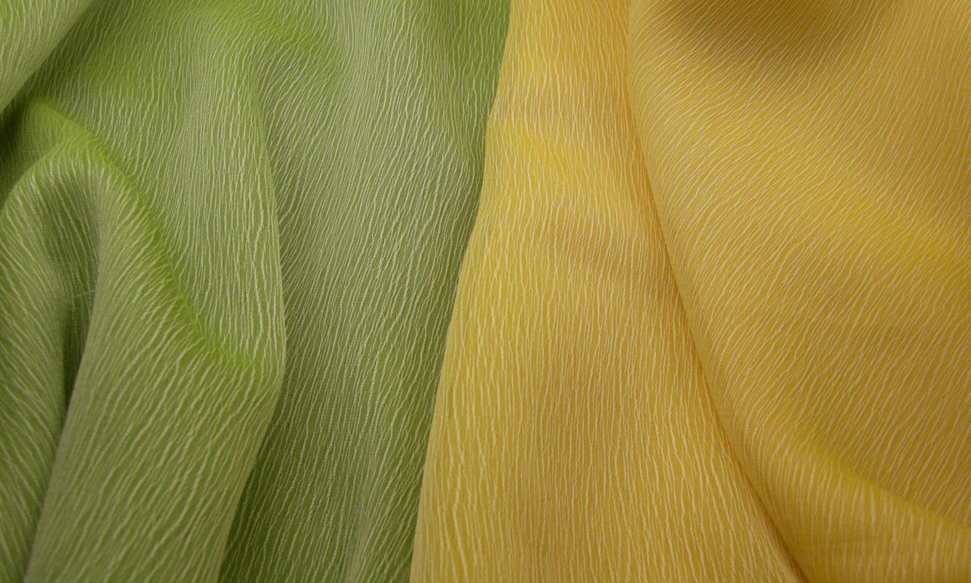 ART 7150 Transparent crepe chiffon shirt fabric WIDTH cm145 WEIGHT gr90 COMPOSITION 100 polyester - Green 400mts – Yellow 300mts