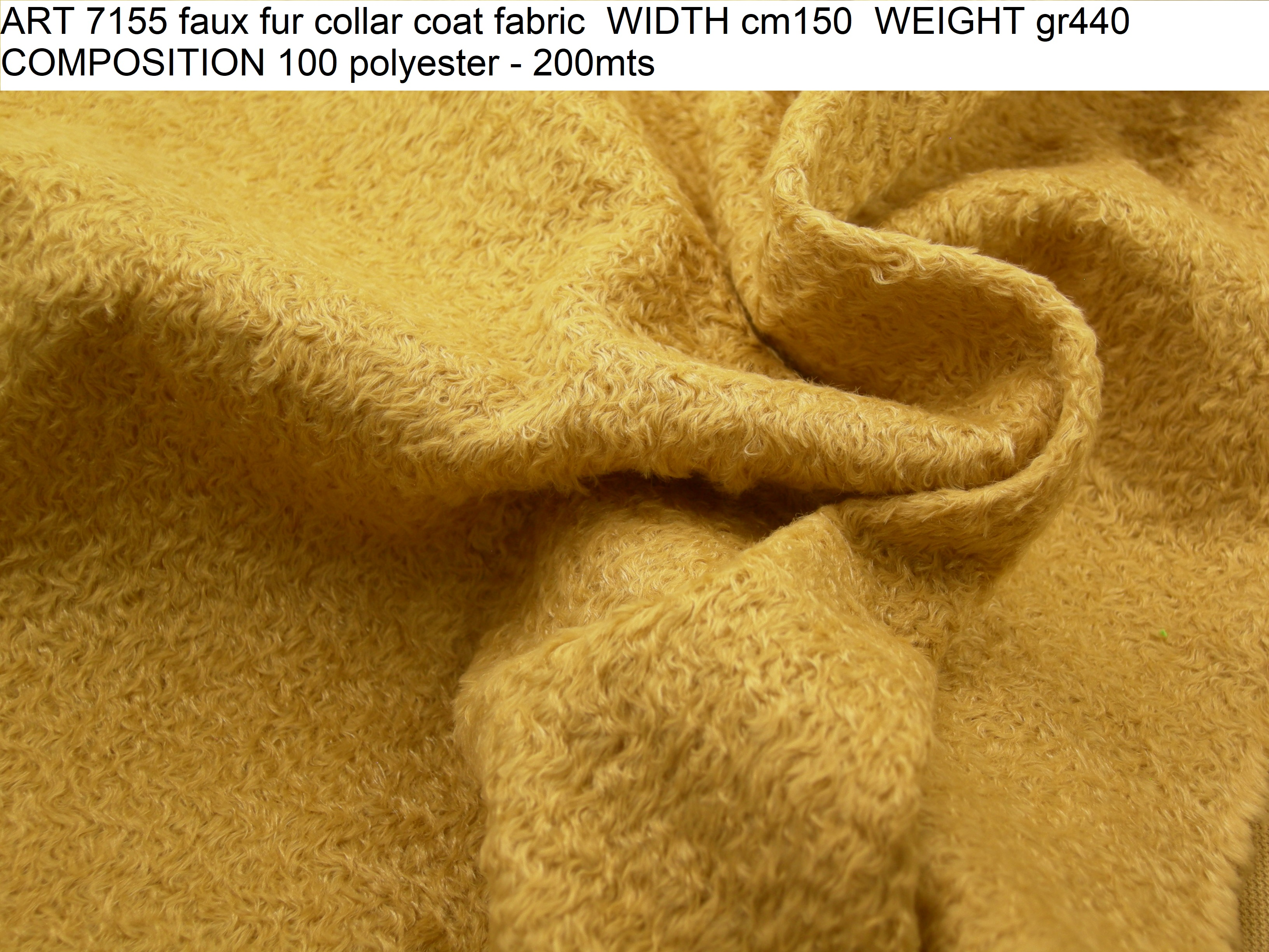 ART 7155 faux fur collar coat fabric WIDTH cm150 WEIGHT gr440 COMPOSITION 100 polyester - 200mts