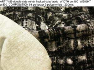 ART 7159 double side velvet flocked coat fabric WIDTH cm150 WEIGHT gr800 COMPOSITION 91 polyester 9 polyammide - 200mts