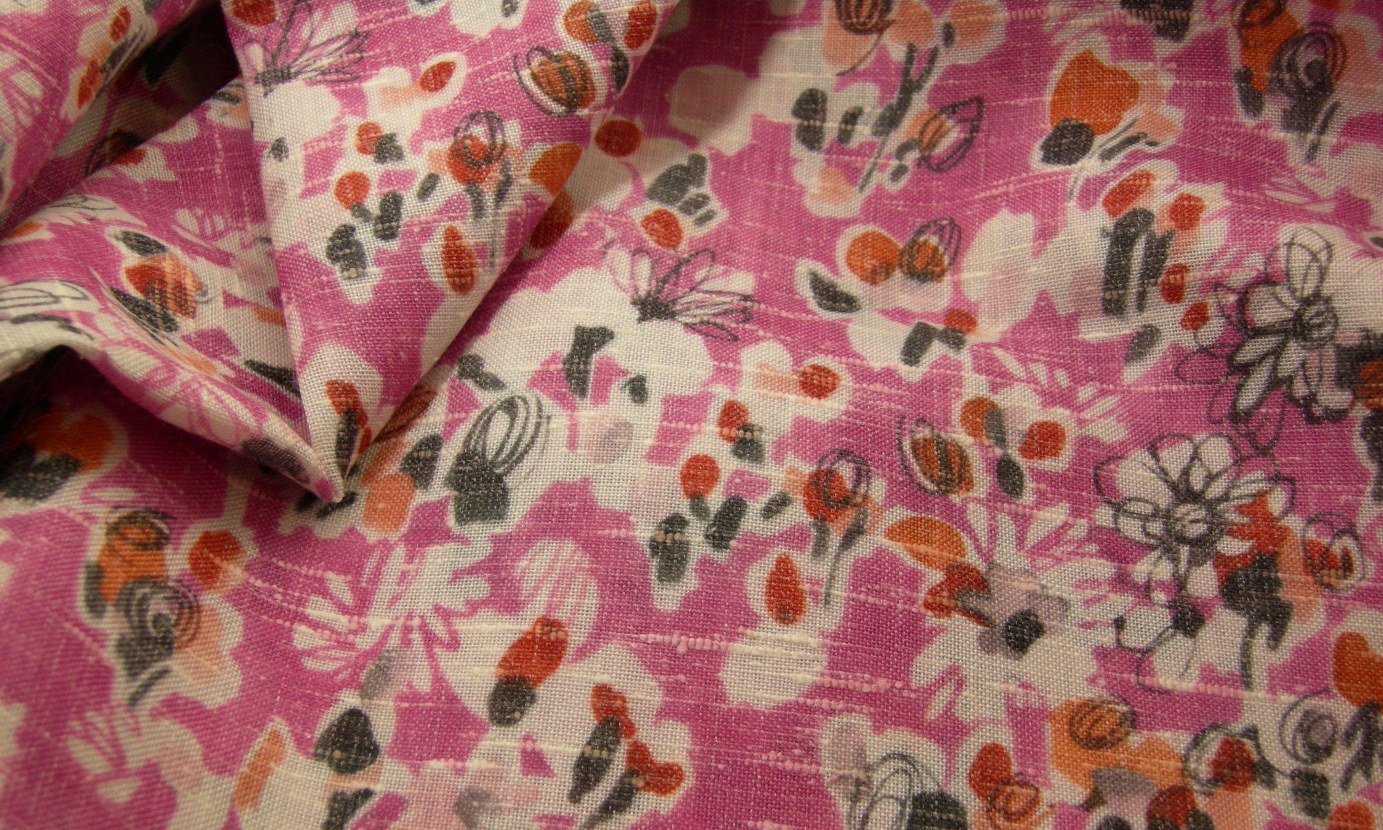 ART 7171 floral print silk linen blend shirt fabric WIDTH cm 163 WEIGHT gr 210 COMPOSITION 71Polyester 24Linen 5Silk - 100mts