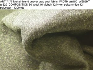 ART 7177 Mohair blend beaver drap coat fabric WIDTH cm150 WEIGHT gr520 COMPOSITION 60 Wool 16 Mohair 12 Nylon polyammide 12 polyester - 1200mts