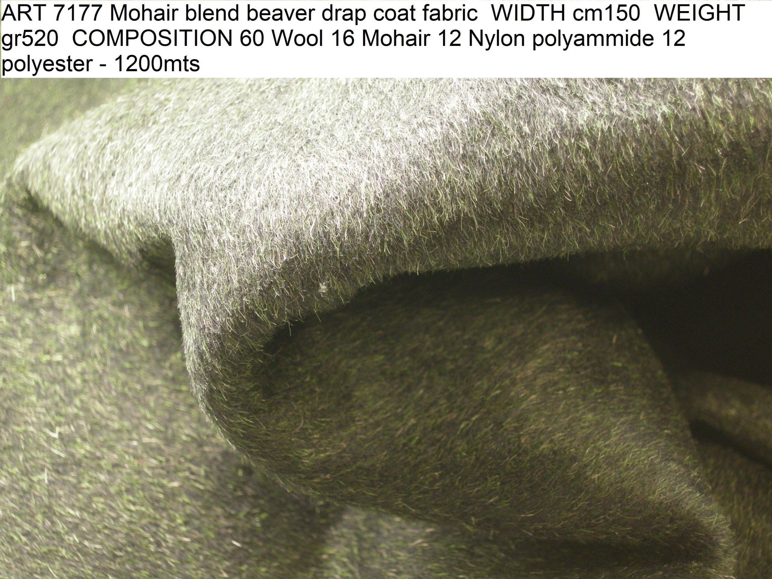 ART 7177 Mohair blend beaver drap coat fabric WIDTH cm150 WEIGHT gr520 COMPOSITION 60 Wool 16 Mohair 12 Nylon polyammide 12 polyester - 1200mts