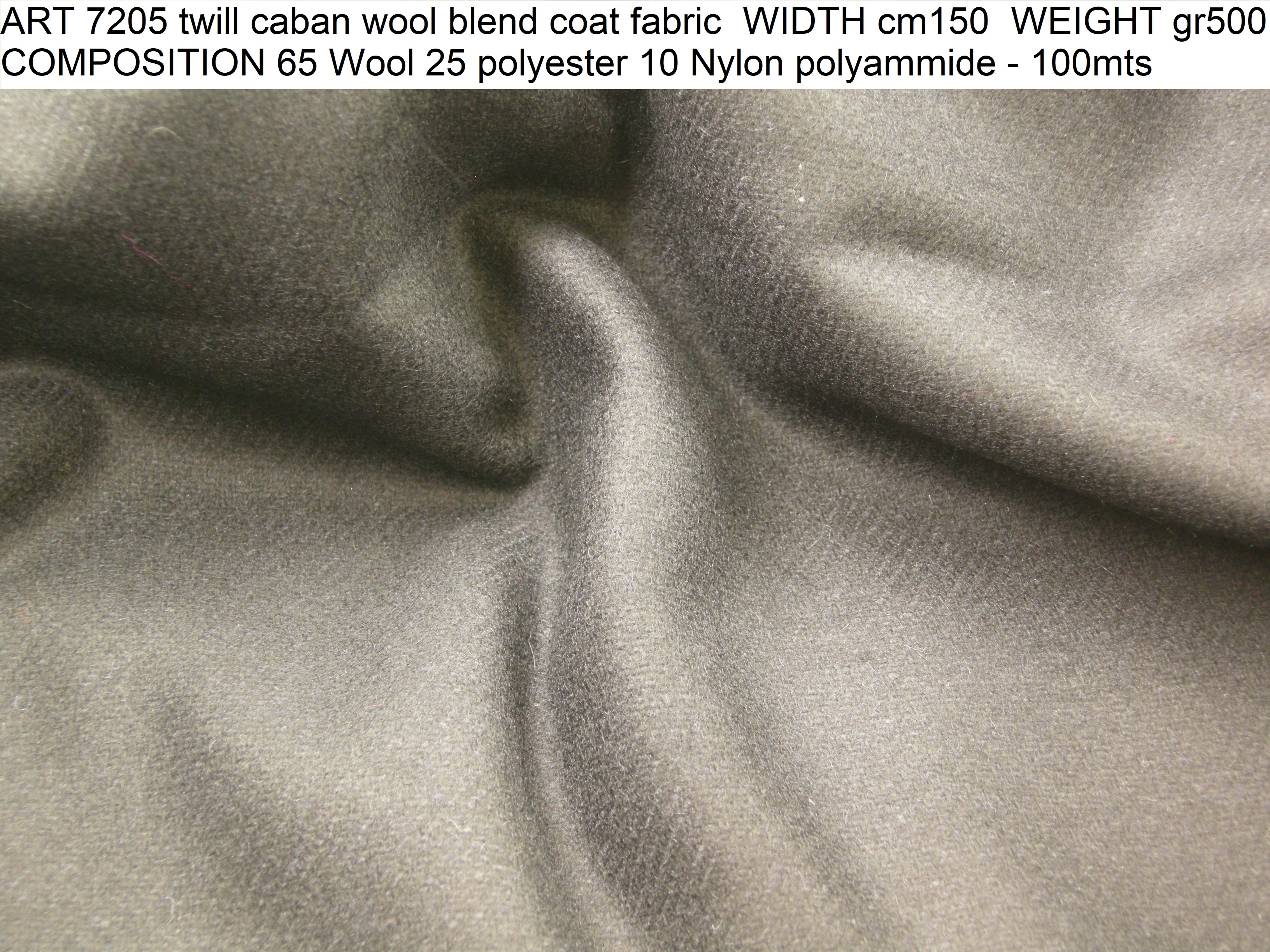 ART 7205 twill caban wool blend coat fabric WIDTH cm150 WEIGHT gr500 COMPOSITION 65 Wool 25 polyester 10 Nylon polyammide - 100mts
