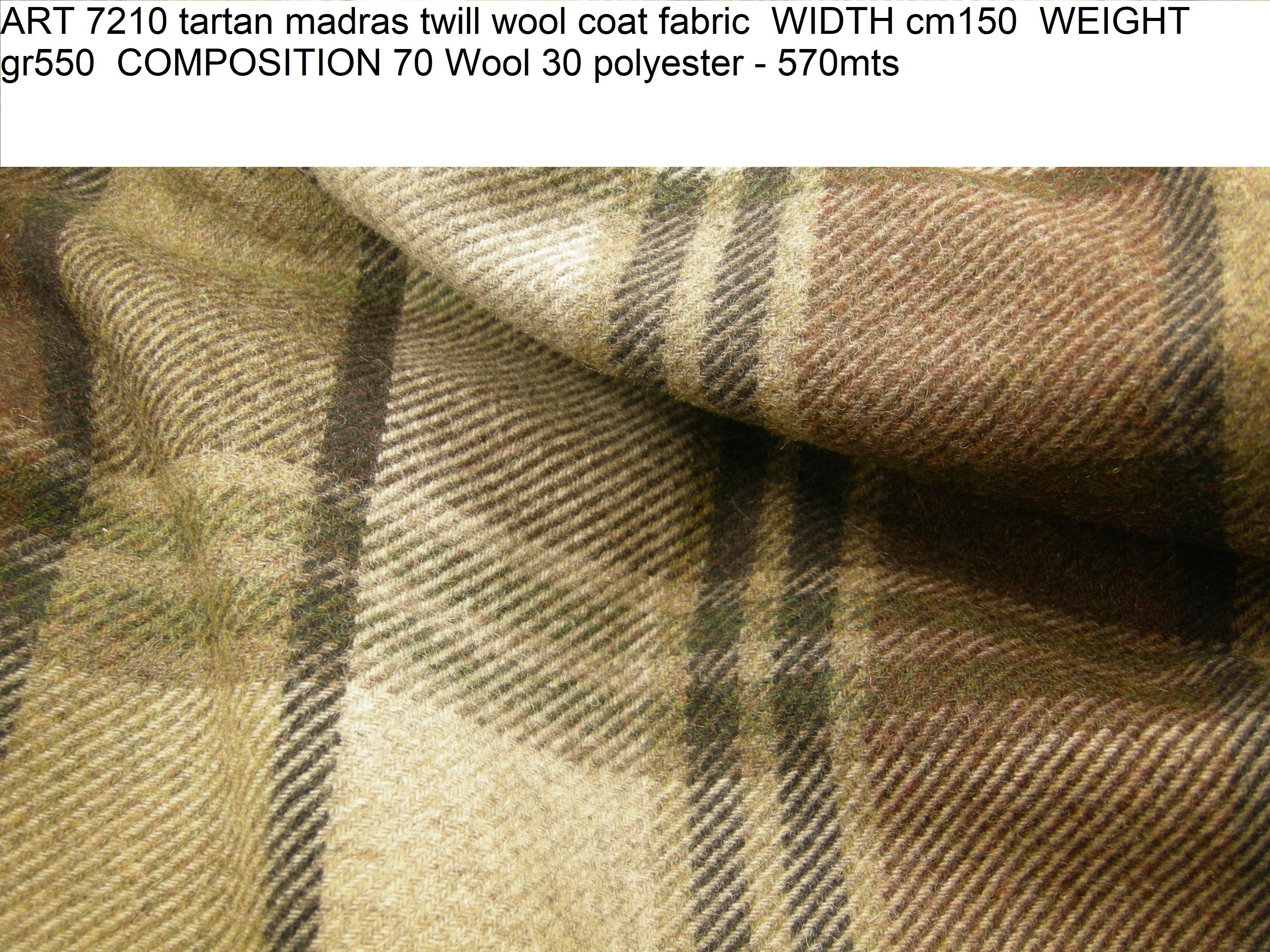ART 7210 tartan madras twill wool coat fabric WIDTH cm150 WEIGHT gr550 COMPOSITION 70 Wool 30 polyester – 570mts