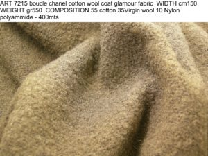 ART 7215 boucle chanel cotton wool coat glamour fabric WIDTH cm150 WEIGHT gr550 COMPOSITION 55 cotton 35Virgin wool 10 Nylon polyammide - 400mts