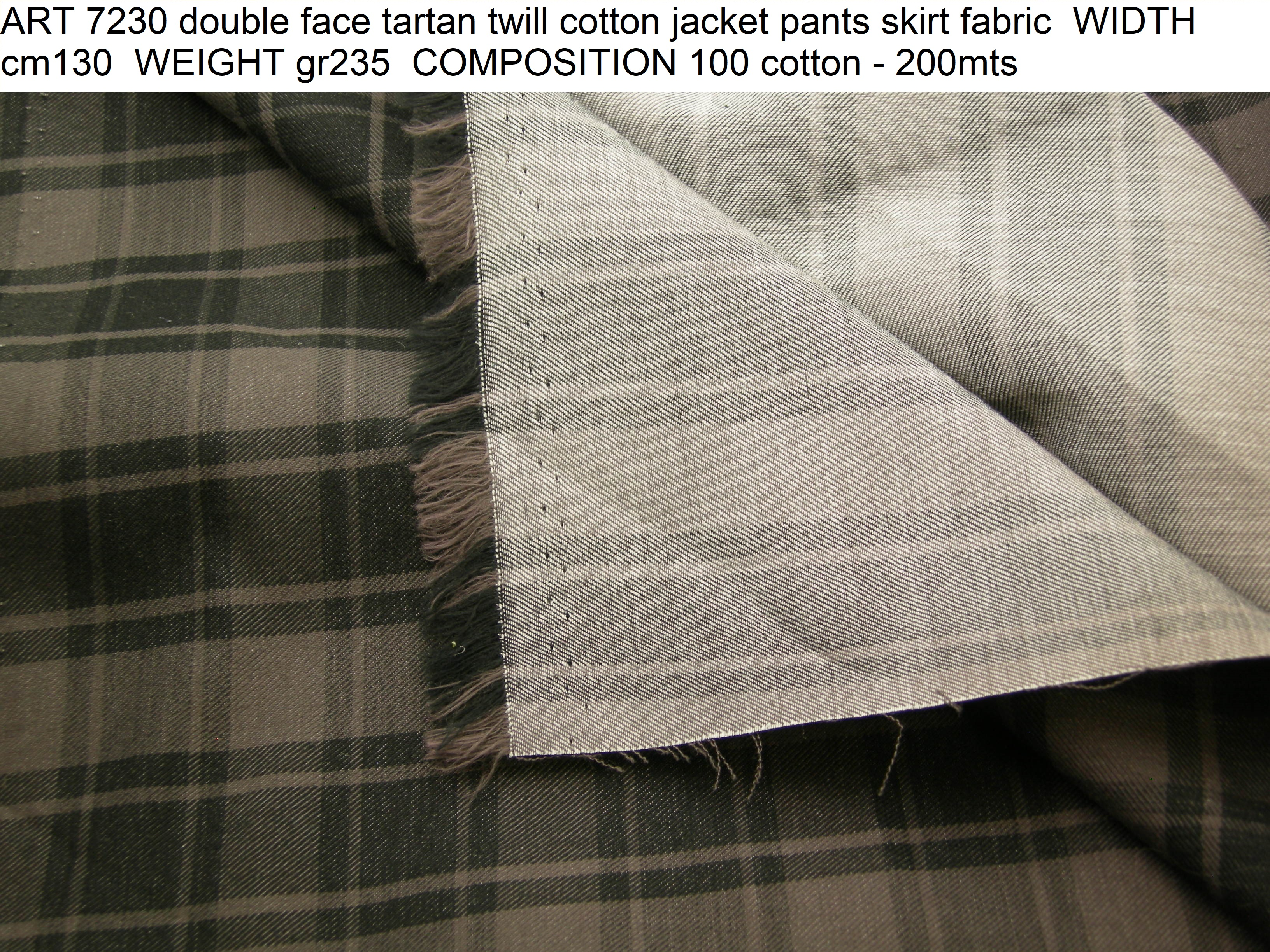 ART 7230 double face tartan twill cotton jacket pants skirt fabric WIDTH cm130 WEIGHT gr235 COMPOSITION 100 cotton - 200mts