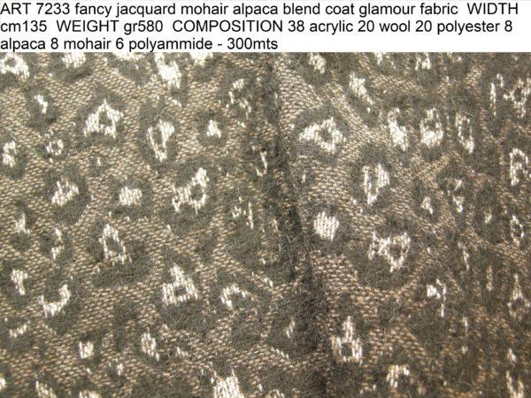 ART 7233 fancy jacquard mohair alpaca blend coat glamour fabric WIDTH cm135 WEIGHT gr580 COMPOSITION 38 acrylic 20 wool 20 polyester 8 alpaca 8 mohair 6 polyammide - 300mts