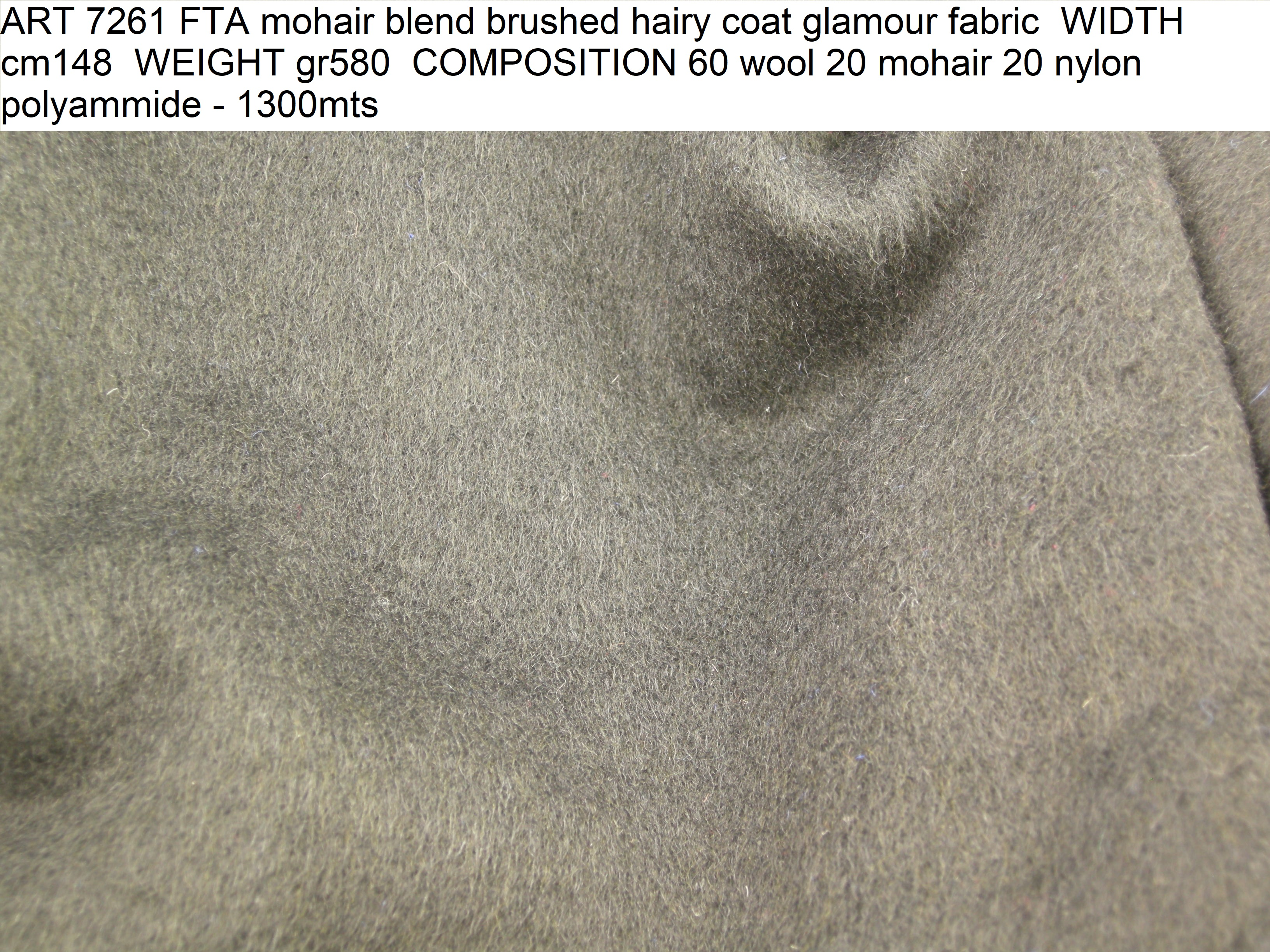 ART 7261 FTA mohair blend brushed hairy coat glamour fabric WIDTH cm148 WEIGHT gr580 COMPOSITION 60 wool 20 mohair 20 nylon polyammide - 1300mts
