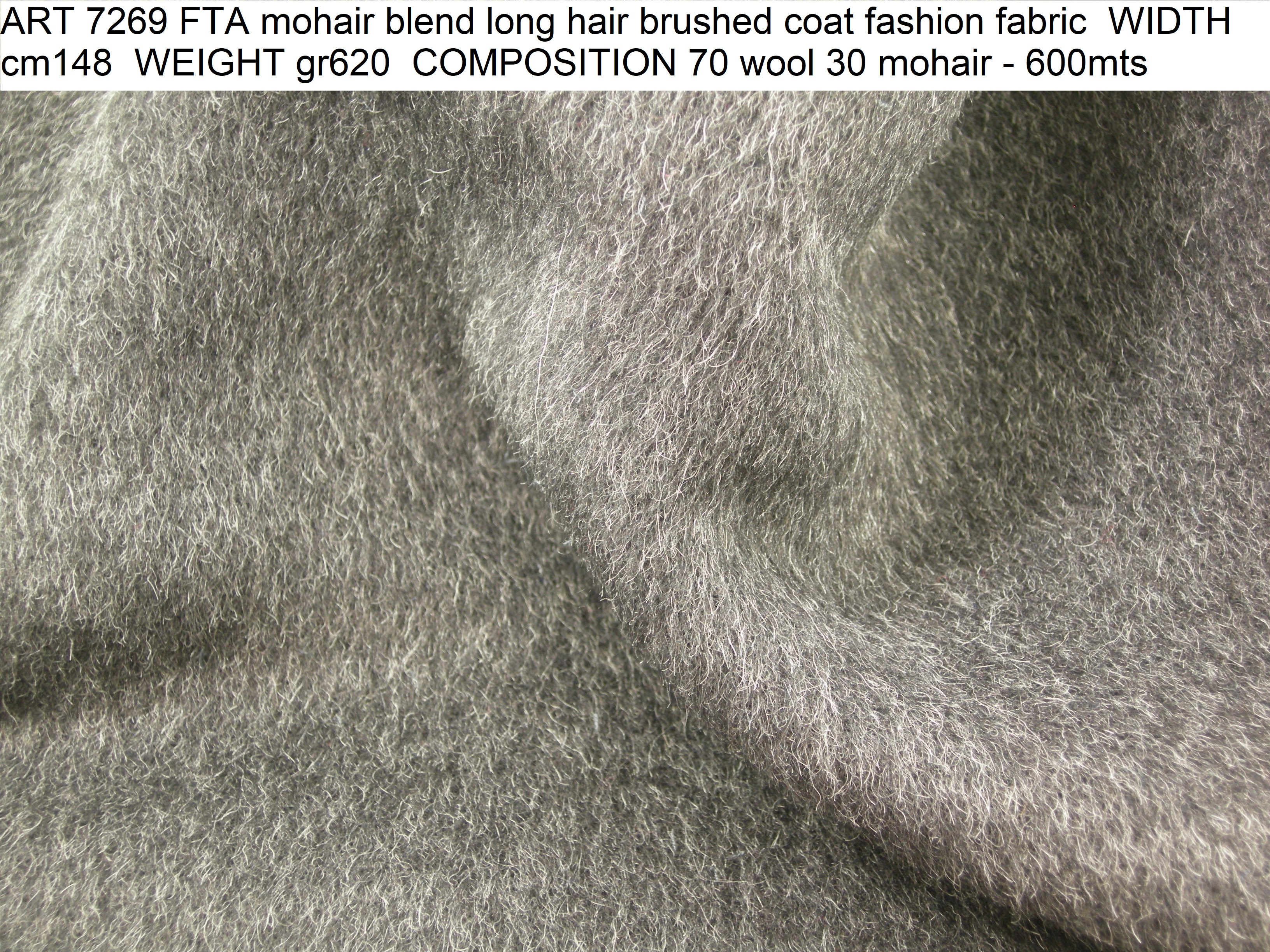 ART 7269 FTA mohair blend long hair brushed coat fashion fabric WIDTH cm148 WEIGHT gr620 COMPOSITION 70 wool 30 mohair - 600mts