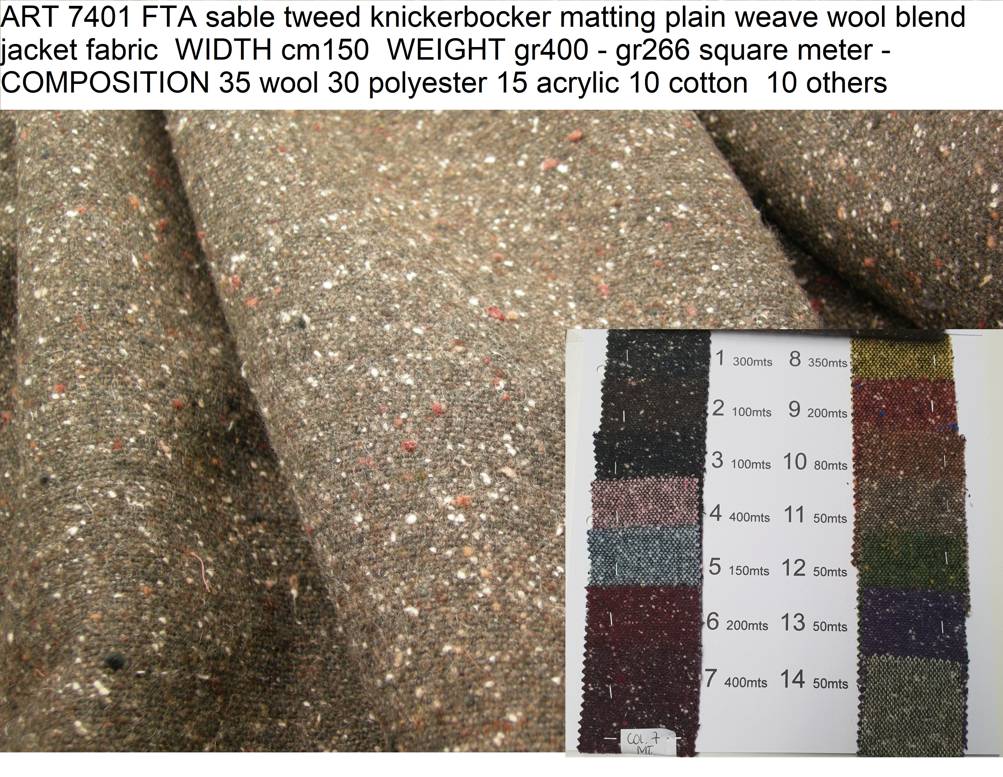 ART 7401 FTA sable tweed knickerbocker matting plain weave wool blend jacket fabric WIDTH cm150 WEIGHT gr400 - gr266 square meter - COMPOSITION 35 wool 30 polyester 15 acrylic 10 cotton 10 others