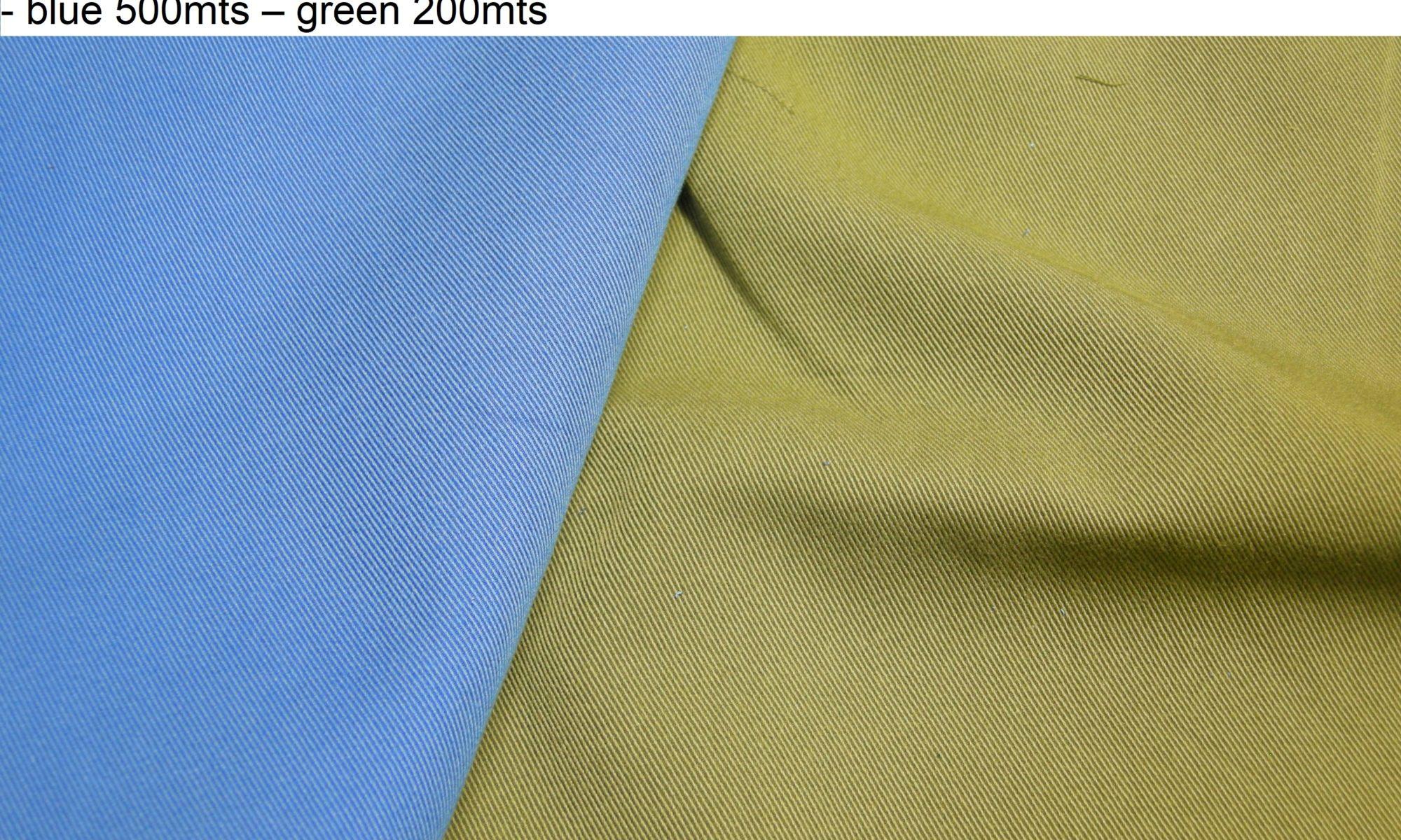 ART 7420 tencel blend rib twill jacket pants fashion fabric WIDTH cm150 WEIGHT gr370 - gr246 square meter - COMPOSITION 56 cotton 44 tencel - blue 500mts – green 200mts
