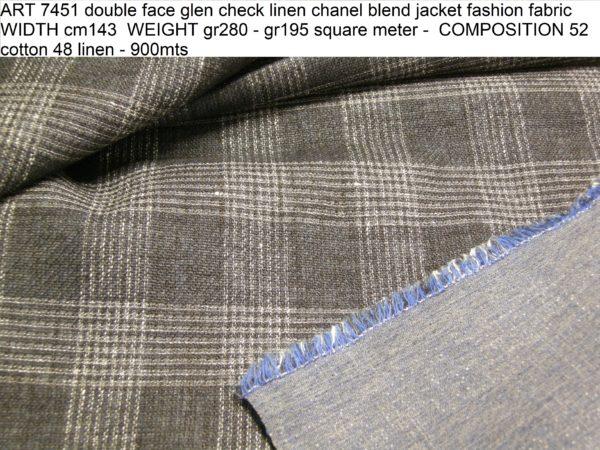ART 7451 double face glen check linen chanel blend jacket fashion fabric WIDTH cm143 WEIGHT gr280 - gr195 square meter - COMPOSITION 52 cotton 48 linen - 900mts