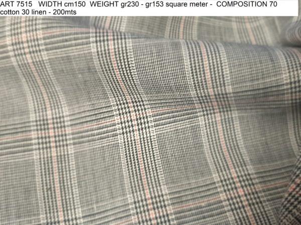 ART 7515 WIDTH cm150 WEIGHT gr230 - gr153 square meter - COMPOSITION 70 cotton 30 linen - 200mts