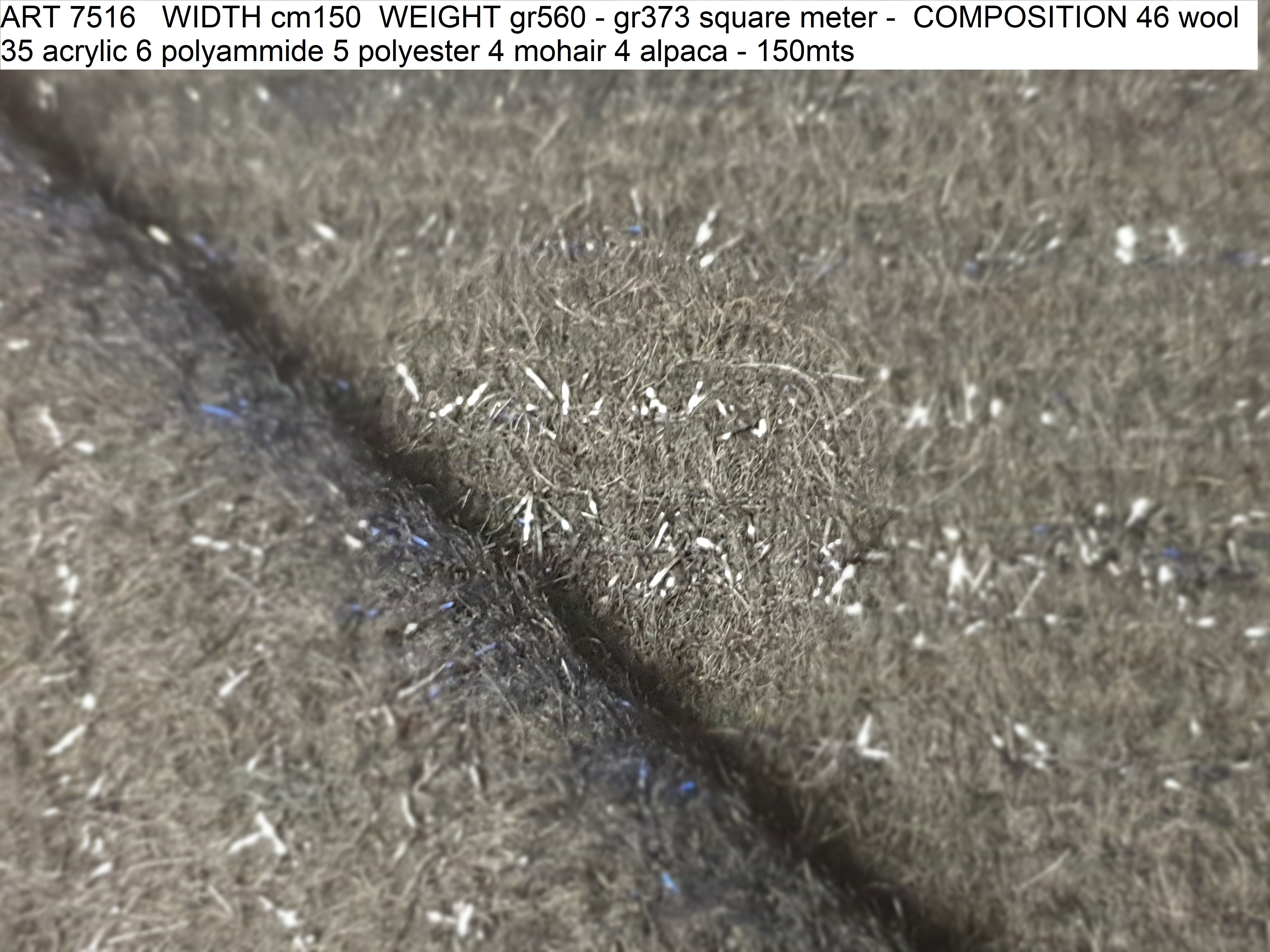 ART 7516 WIDTH cm150 WEIGHT gr560 - gr373 square meter - COMPOSITION 46 wool 35 acrylic 6 polyammide 5 polyester 4 mohair 4 alpaca - 150mts