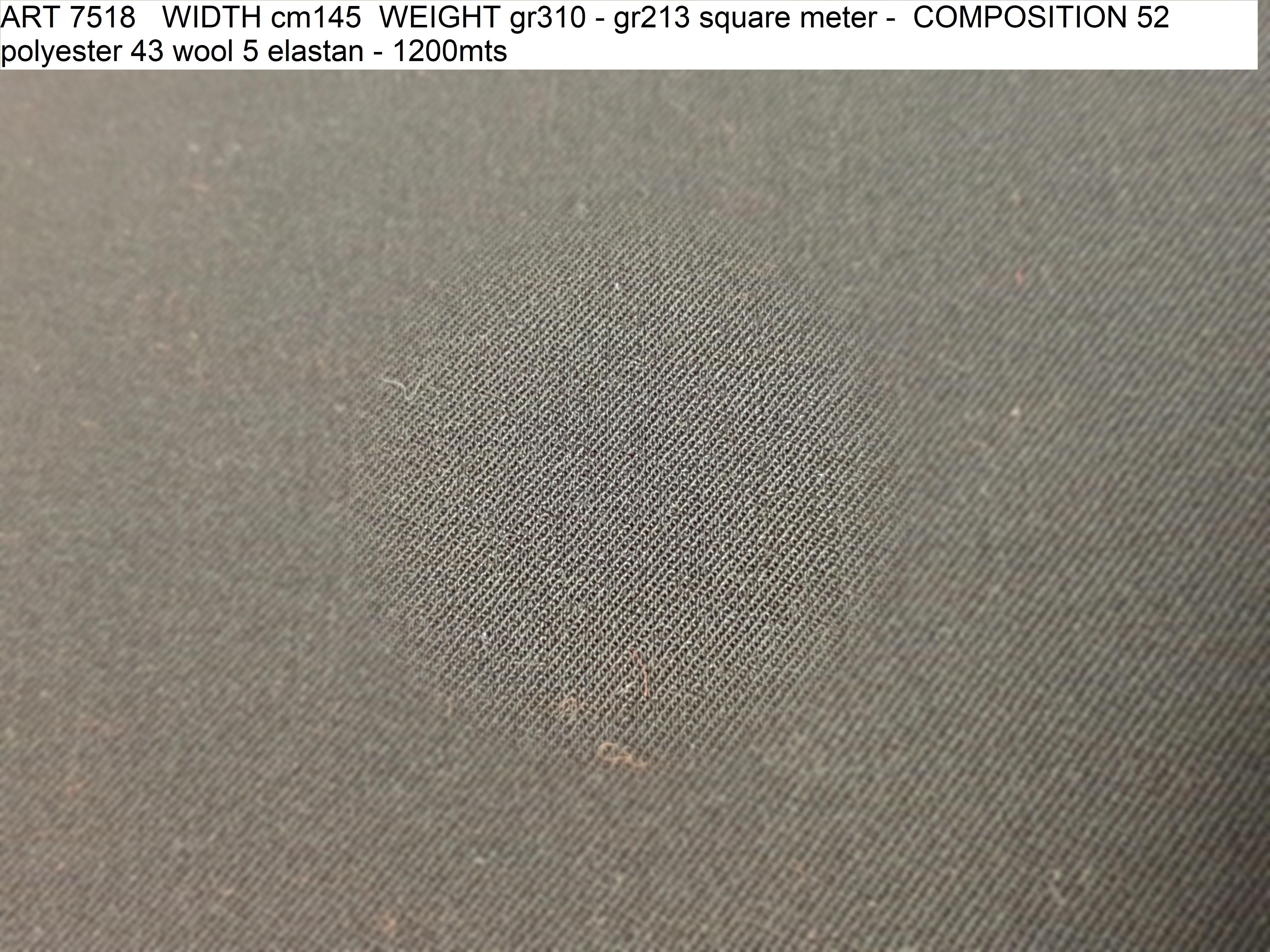ART 7518 WIDTH cm145 WEIGHT gr310 - gr213 square meter - COMPOSITION 52 polyester 43 wool 5 elastan - 1200mts