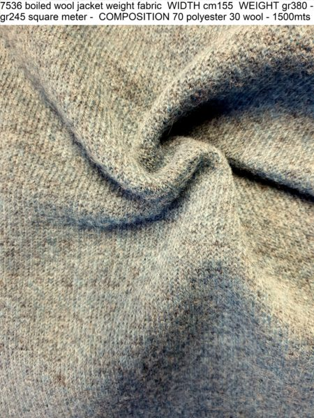 7536 boiled wool jacket weight fabric WIDTH cm155 WEIGHT gr380 - gr245 square meter - COMPOSITION 70 polyester 30 wool - 1500mts