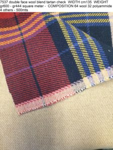 7537 double face wool blend tartan check WIDTH cm135 WEIGHT gr600 - gr444 square meter - COMPOSITION 64 wool 32 polyammide 4 others - 500mts