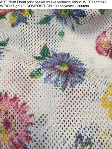 ART 7538 Floral print basket weave technical fabric WIDTH cm145 WEIGHT gr310 COMPOSITION 100 polyester - 200mts