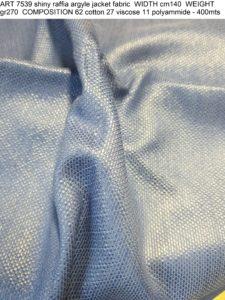 ART 7539 shiny raffia argyle jacket fabric WIDTH cm140 WEIGHT gr270 COMPOSITION 62 cotton 27 viscose 11 polyammide - 400mts