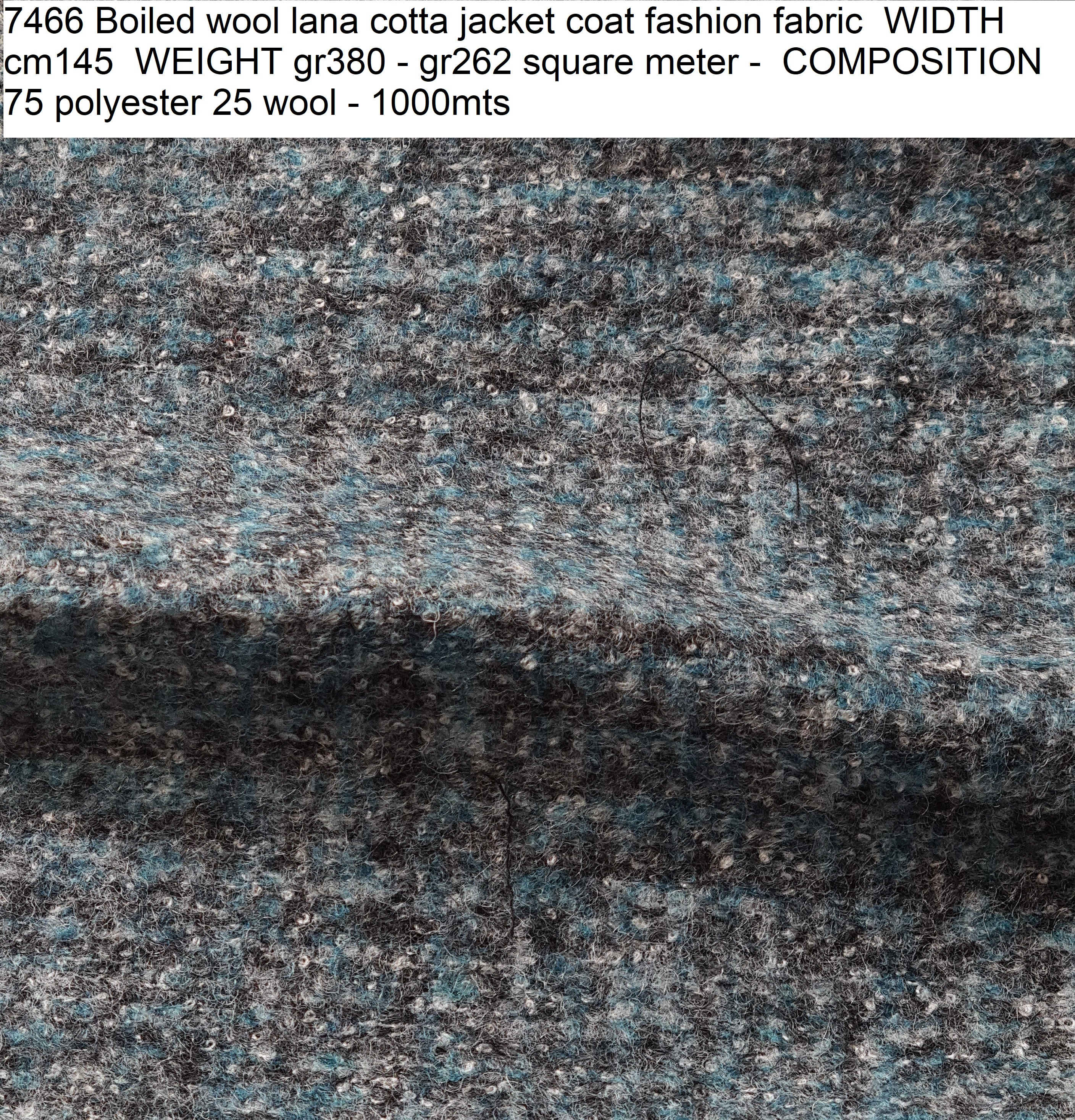 7466 Boiled wool lana cotta jacket coat fashion fabric WIDTH cm145 WEIGHT gr380 - gr262 square meter - COMPOSITION 75 polyester 25 wool - 1000mts