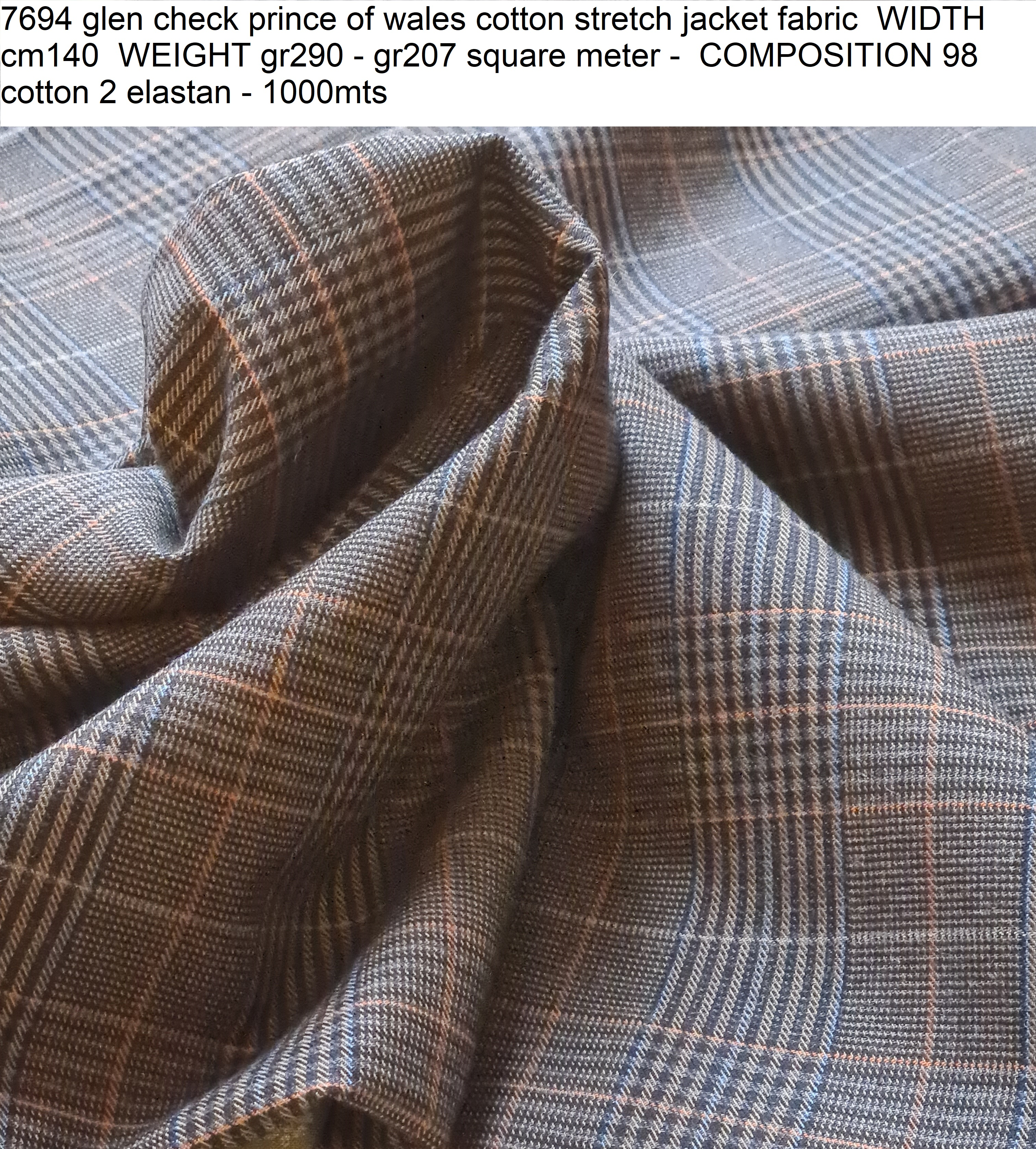 7694 glen check prince of wales cotton stretch jacket fabric WIDTH cm140 WEIGHT gr290 - gr207 square meter - COMPOSITION 98 cotton 2 elastan - 1000mts